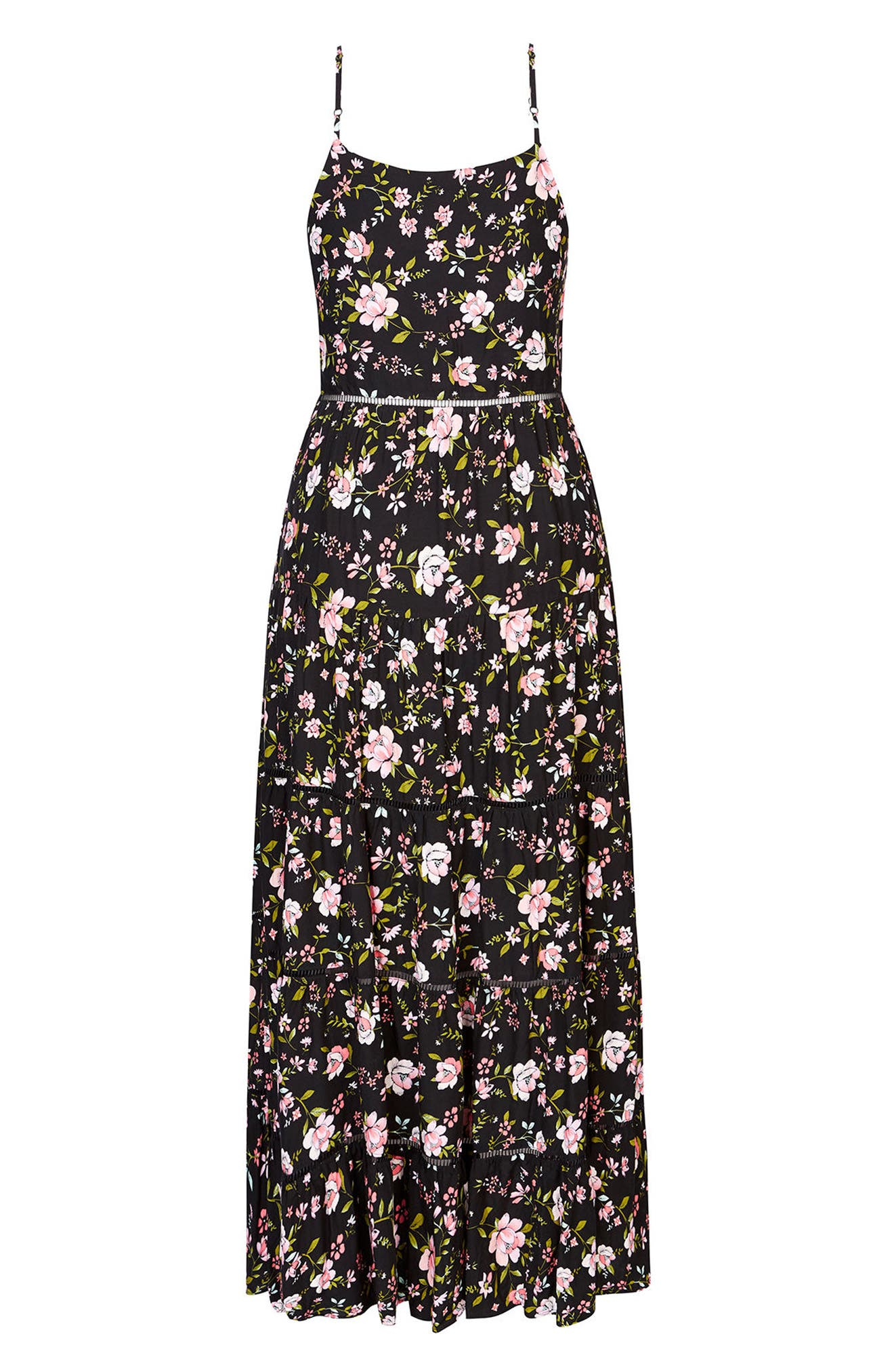 Festival Vibe Maxi Dress,                             Alternate thumbnail 3, color,                             Black Print