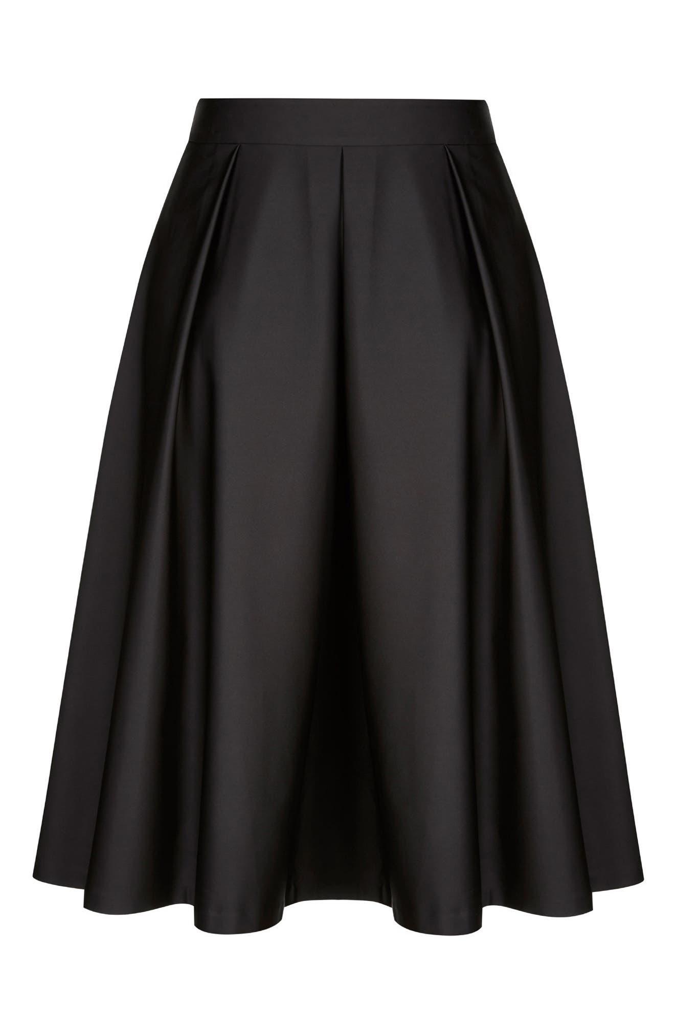 Sateen Midi Skirt,                             Alternate thumbnail 3, color,                             Black