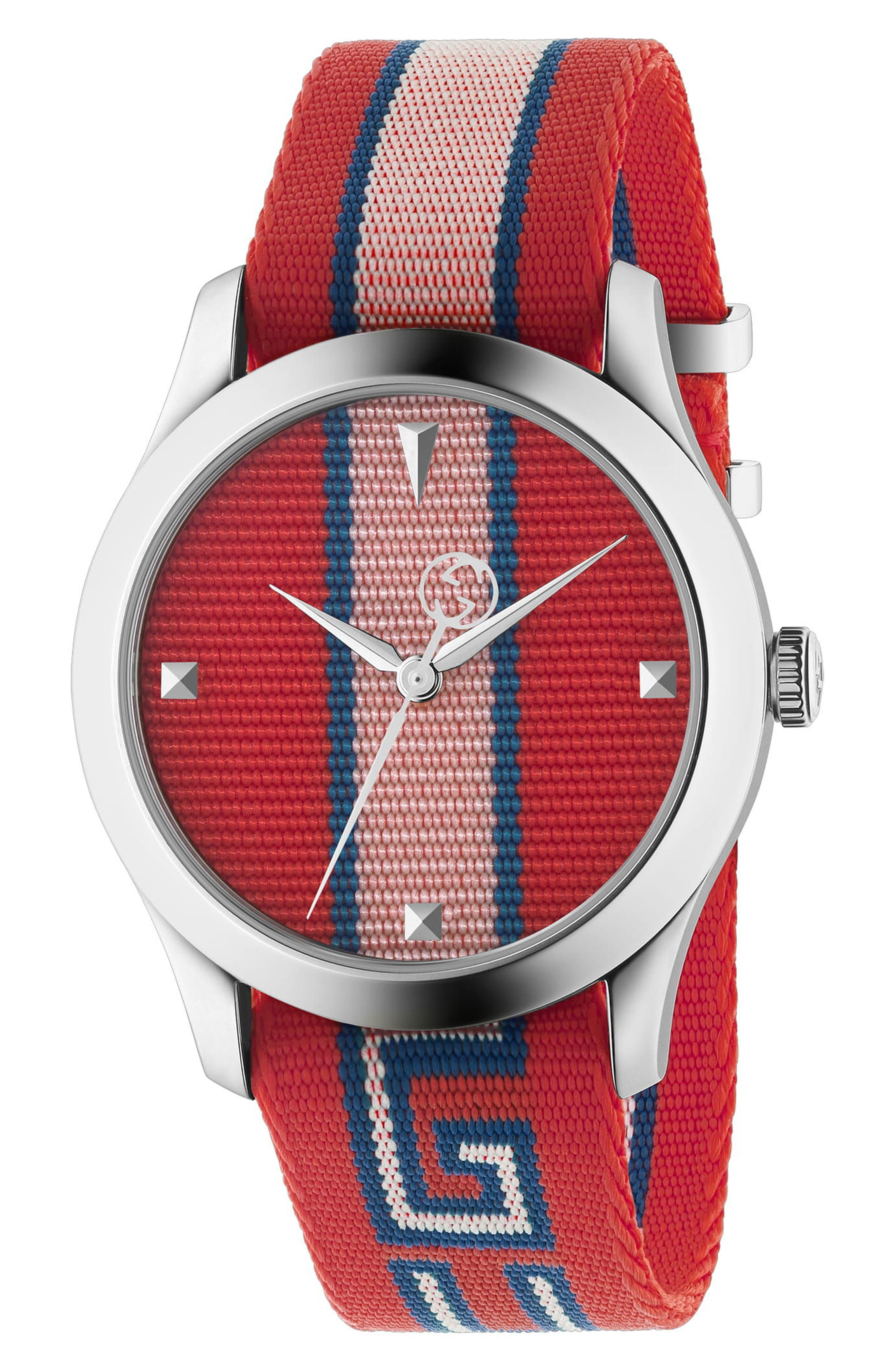 G-Timeless Nylon Strap Watch, 37mm,                             Main thumbnail 1, color,                             Red/ Pink/ Silver