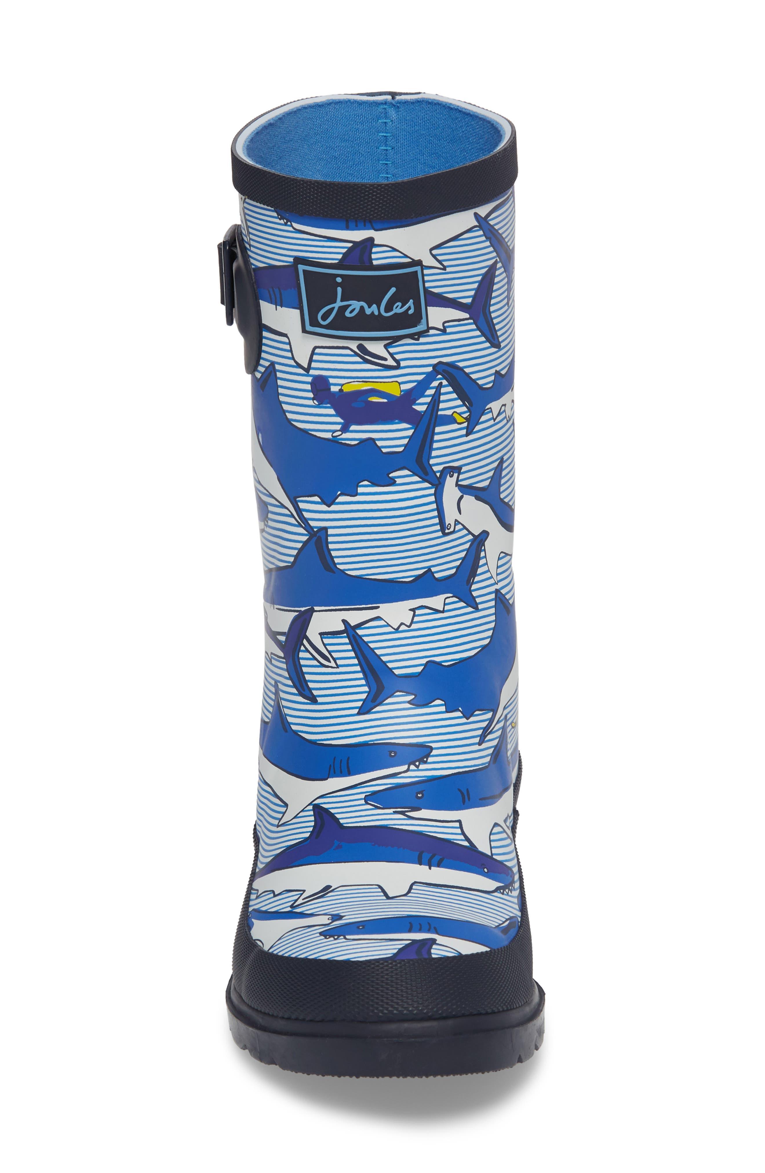 Mid Height Print Welly Rain Boot,                             Alternate thumbnail 4, color,                             Shark Dive Stripe