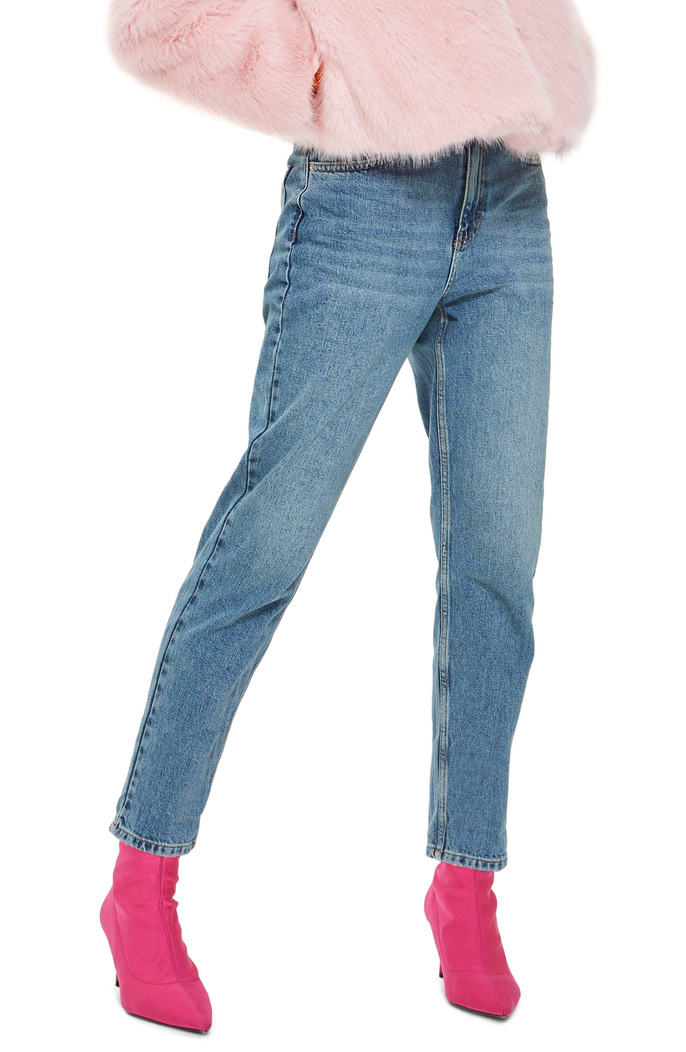 Topshop Petite Mid Denim Mom Jeans