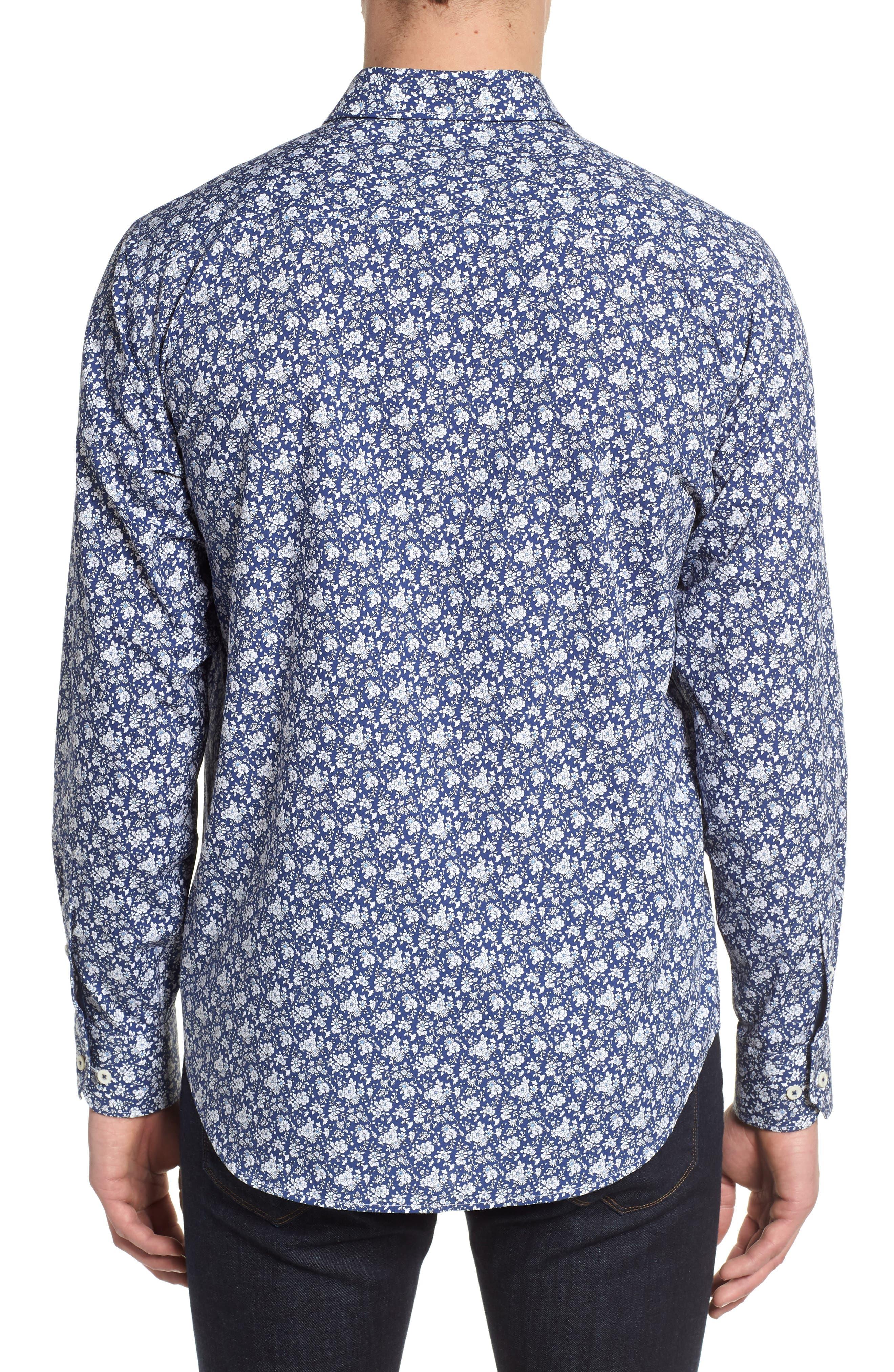 Classic Fit Woven Sport Shirt,                             Alternate thumbnail 2, color,                             Navy