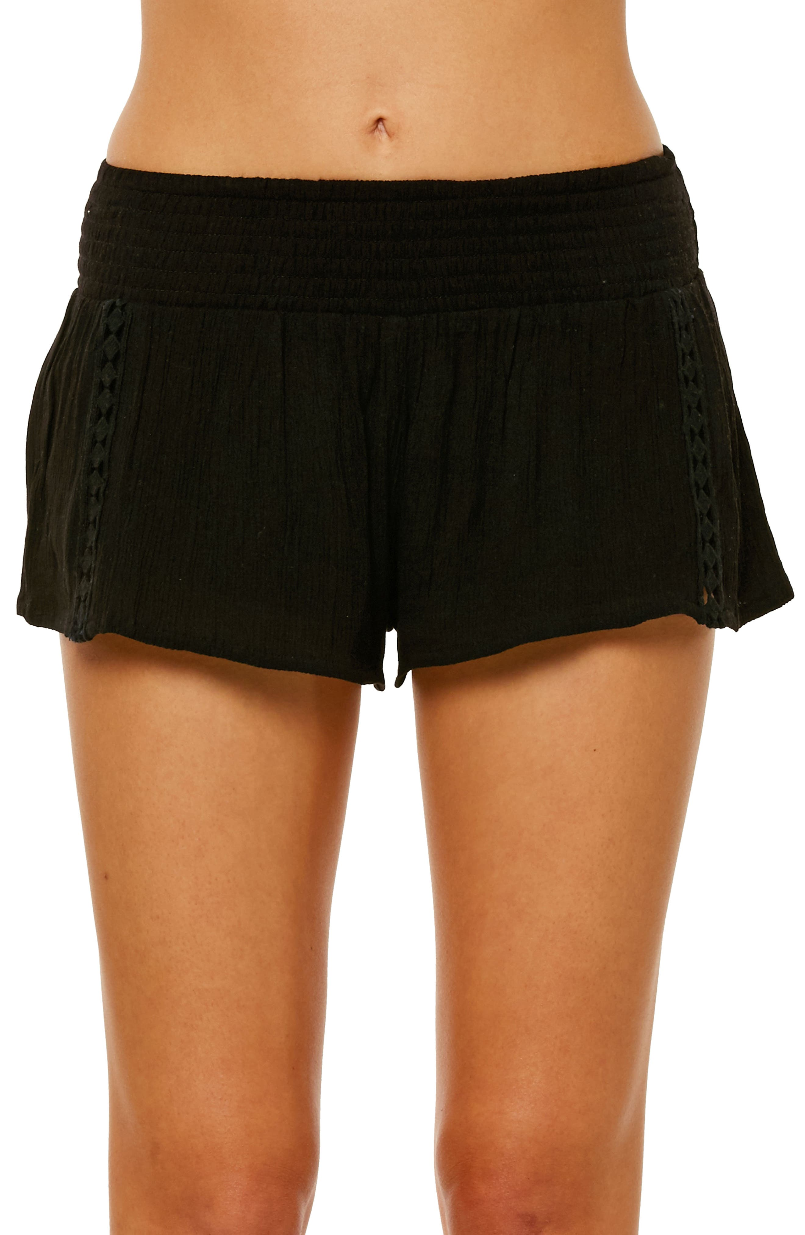 Elise Crochet Trim Shorts,                             Main thumbnail 1, color,                             Black