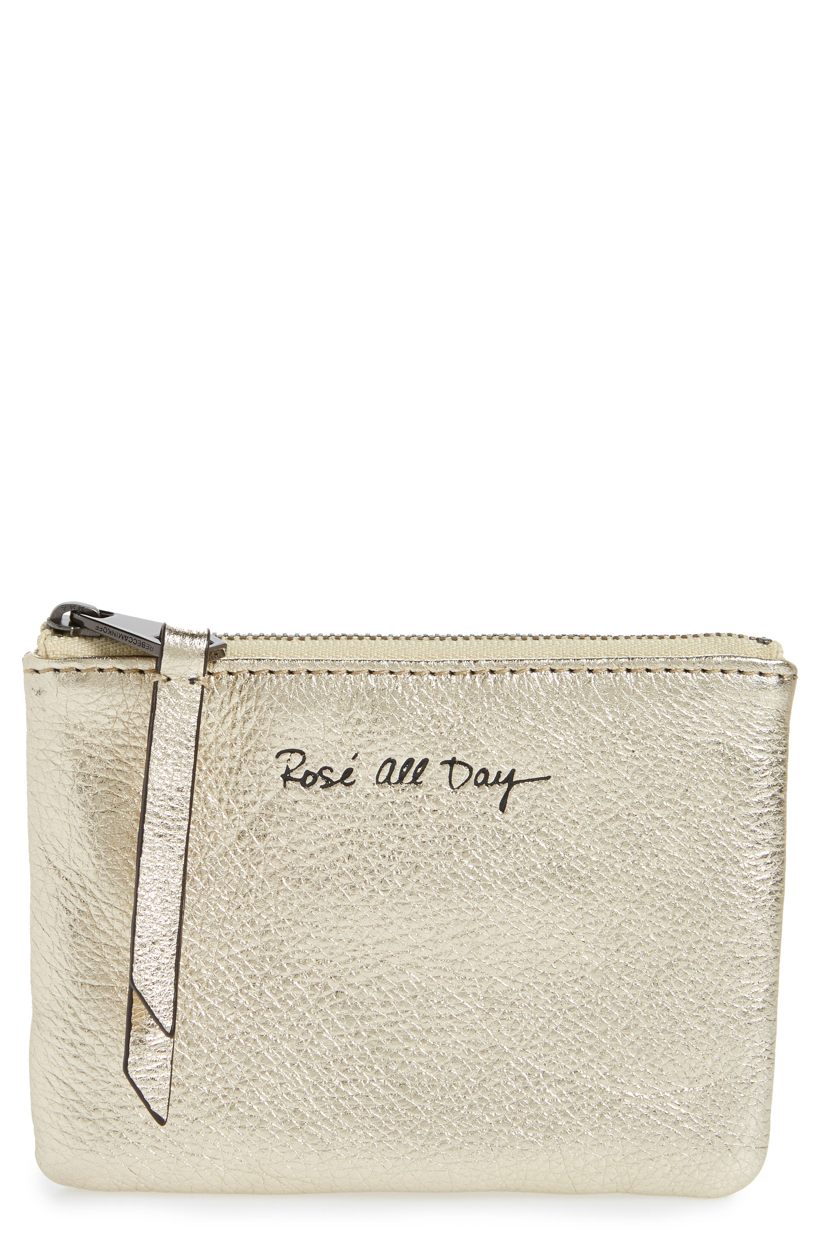Betty Rosé All Day Leather Zip Pouch,                             Main thumbnail 1, color,                             Champagne
