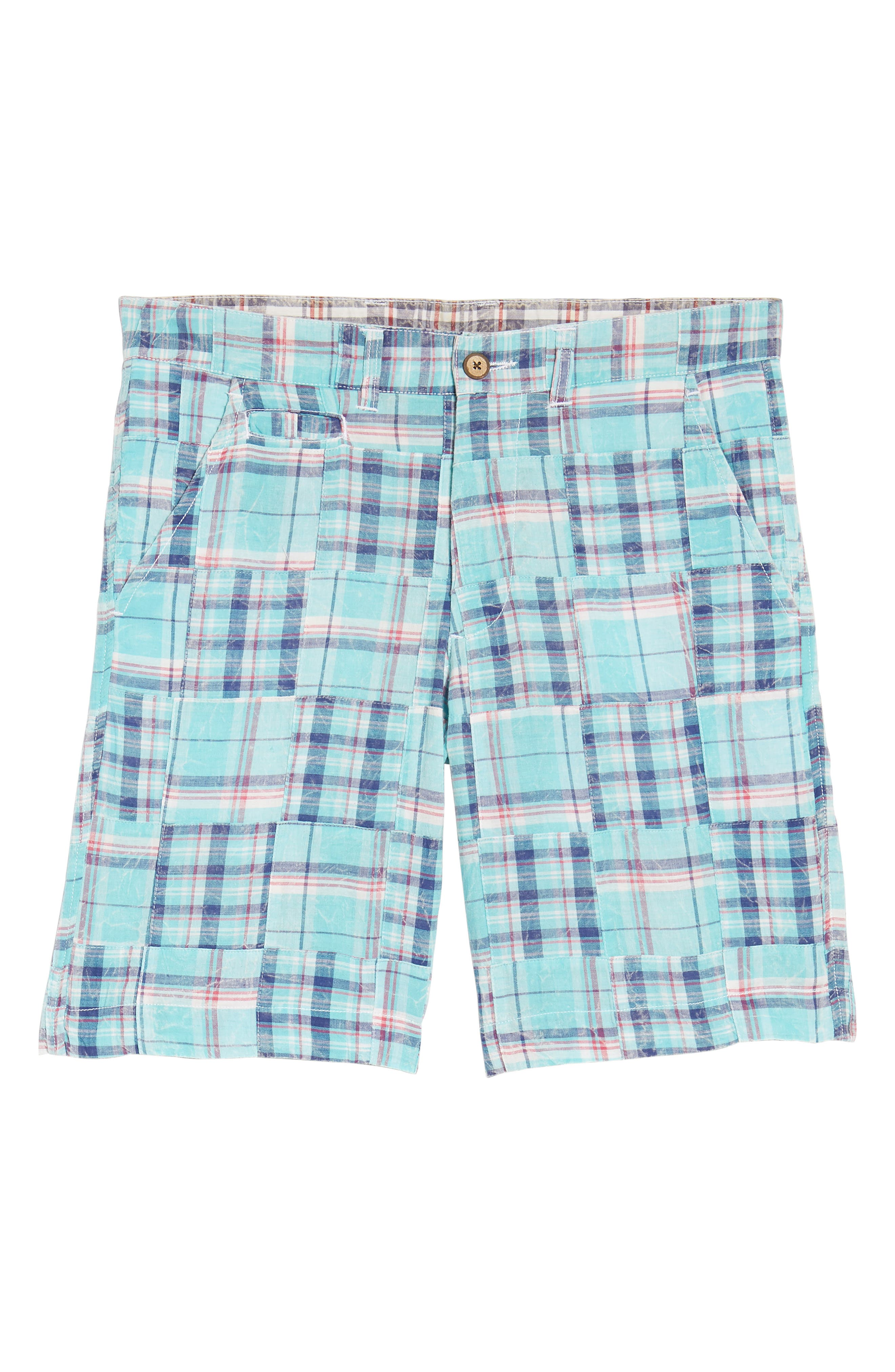 Acid Wash Plaid Patchwork Shorts,                             Alternate thumbnail 6, color,                             Orange