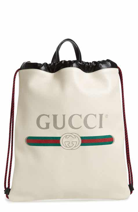 3a23749a742 Gucci Logo Leather Drawstring Backpack