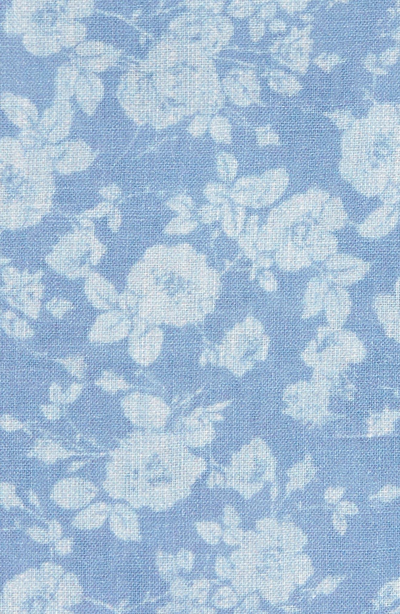 Buds Floral Linen Pocket Square,                             Alternate thumbnail 3, color,                             Light Blue