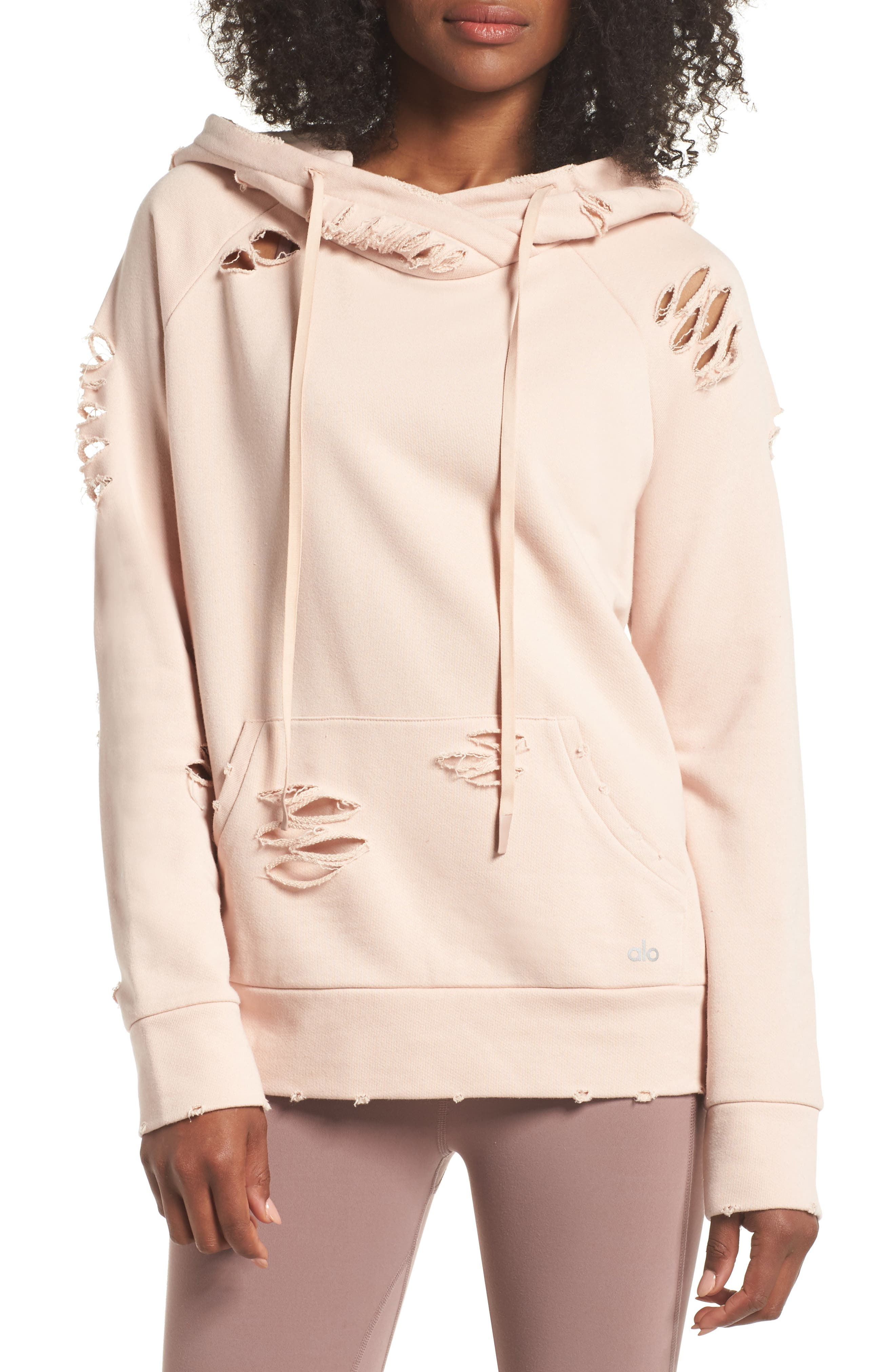 Ripped Hoodie,                         Main,                         color, Nectar