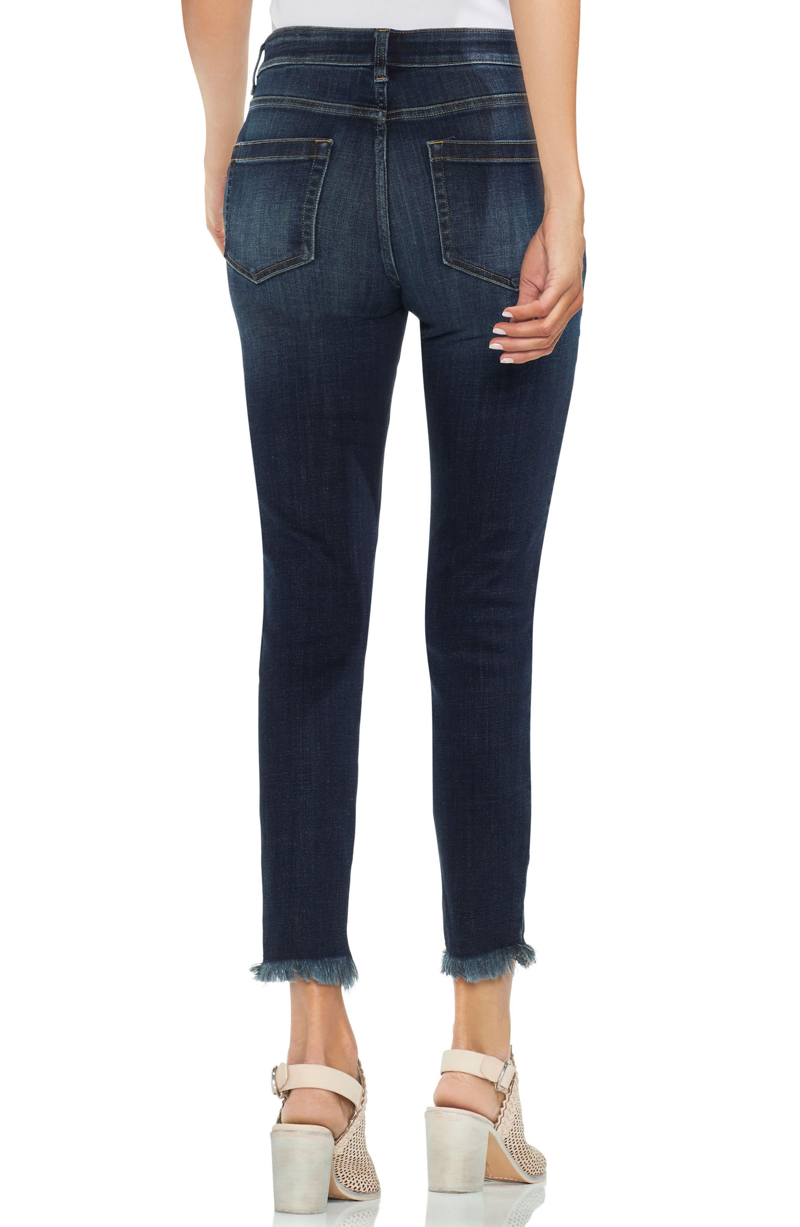 Uneven Hem Skinny Jeans,                             Alternate thumbnail 2, color,                             Dk Authentic