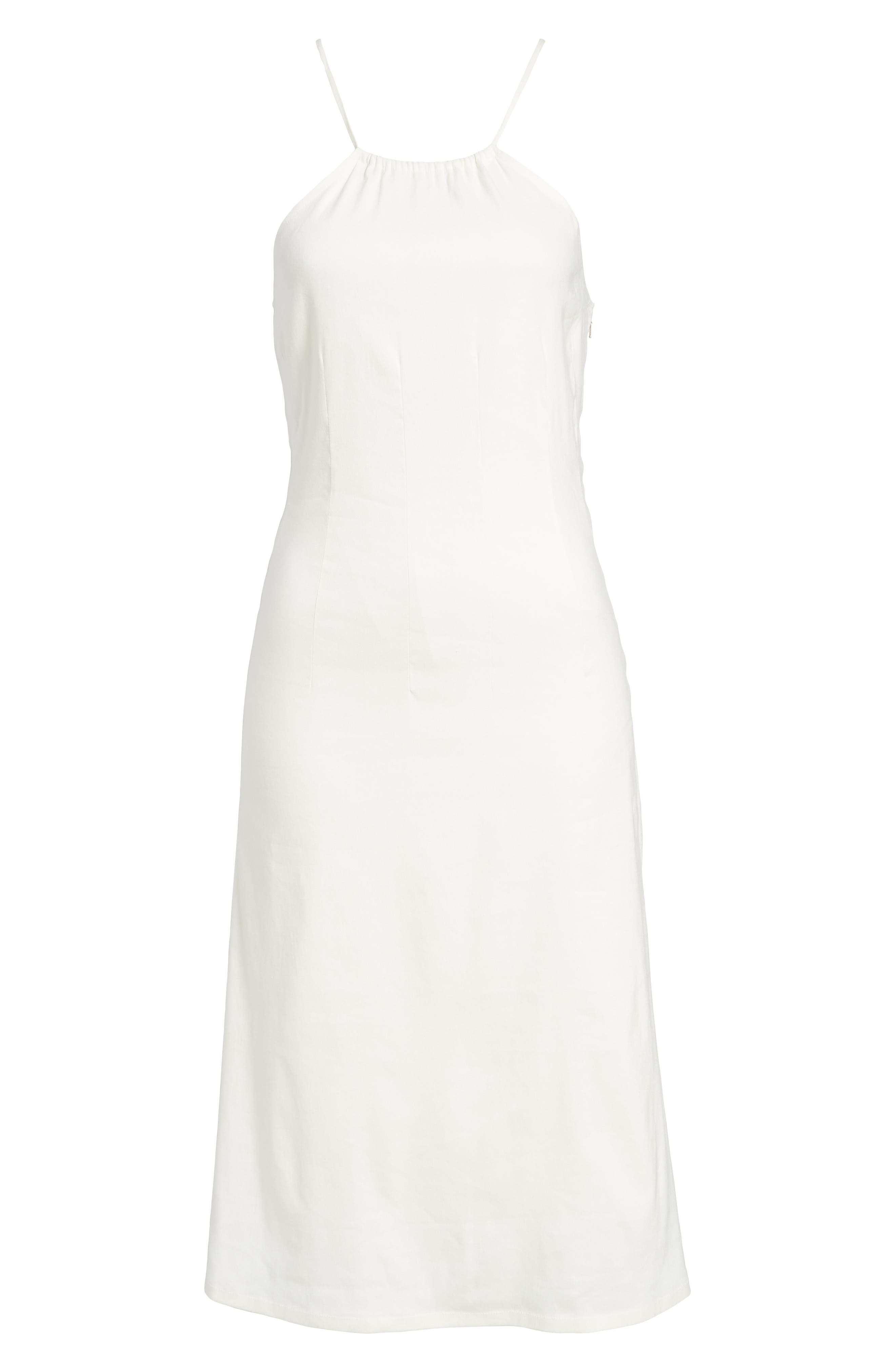 Halter Midi Dress,                             Alternate thumbnail 6, color,                             Ivory