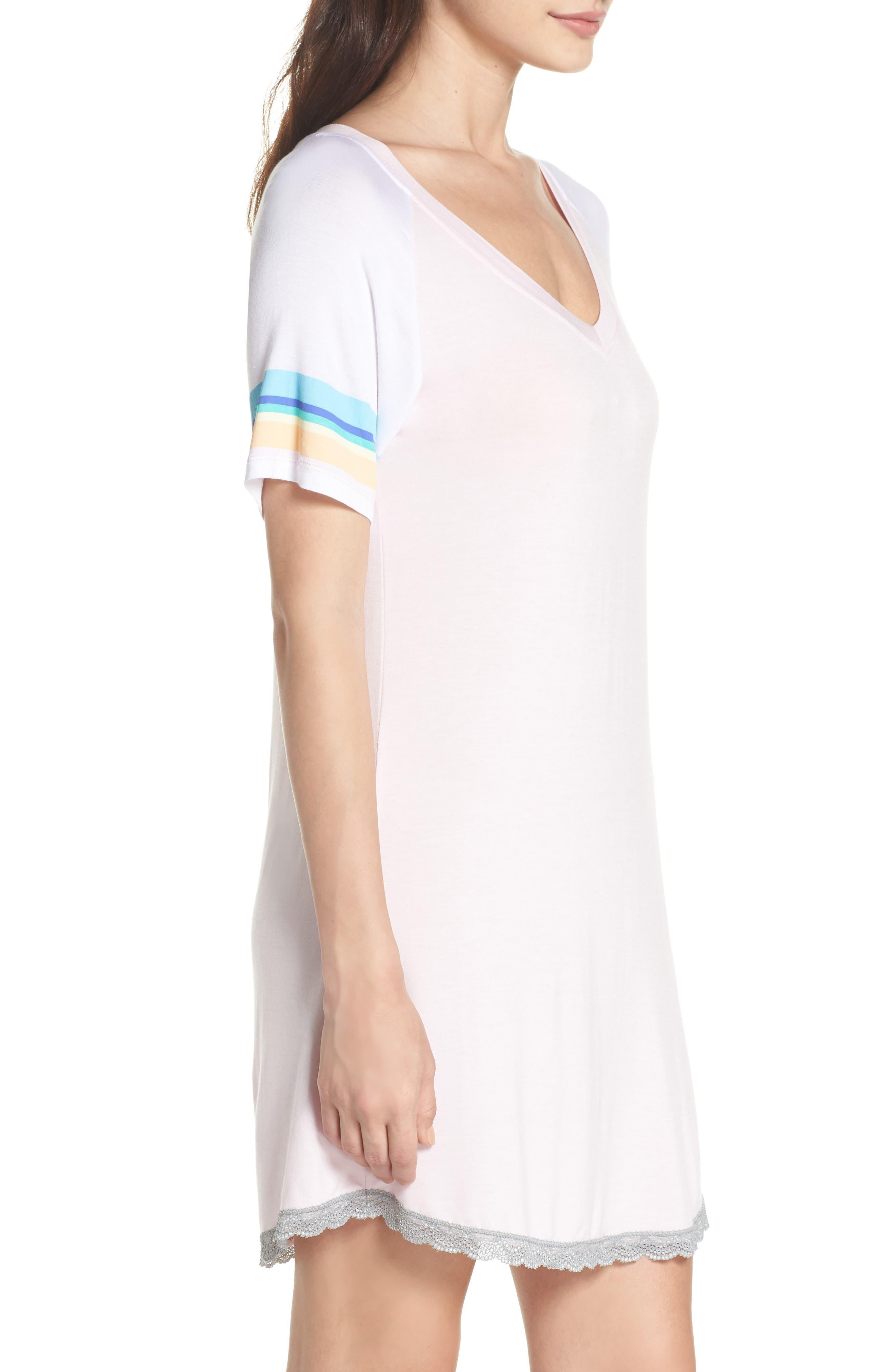 Honeydew Lace Trim Sleep Shirt,                             Alternate thumbnail 3, color,                             Cherry Soda