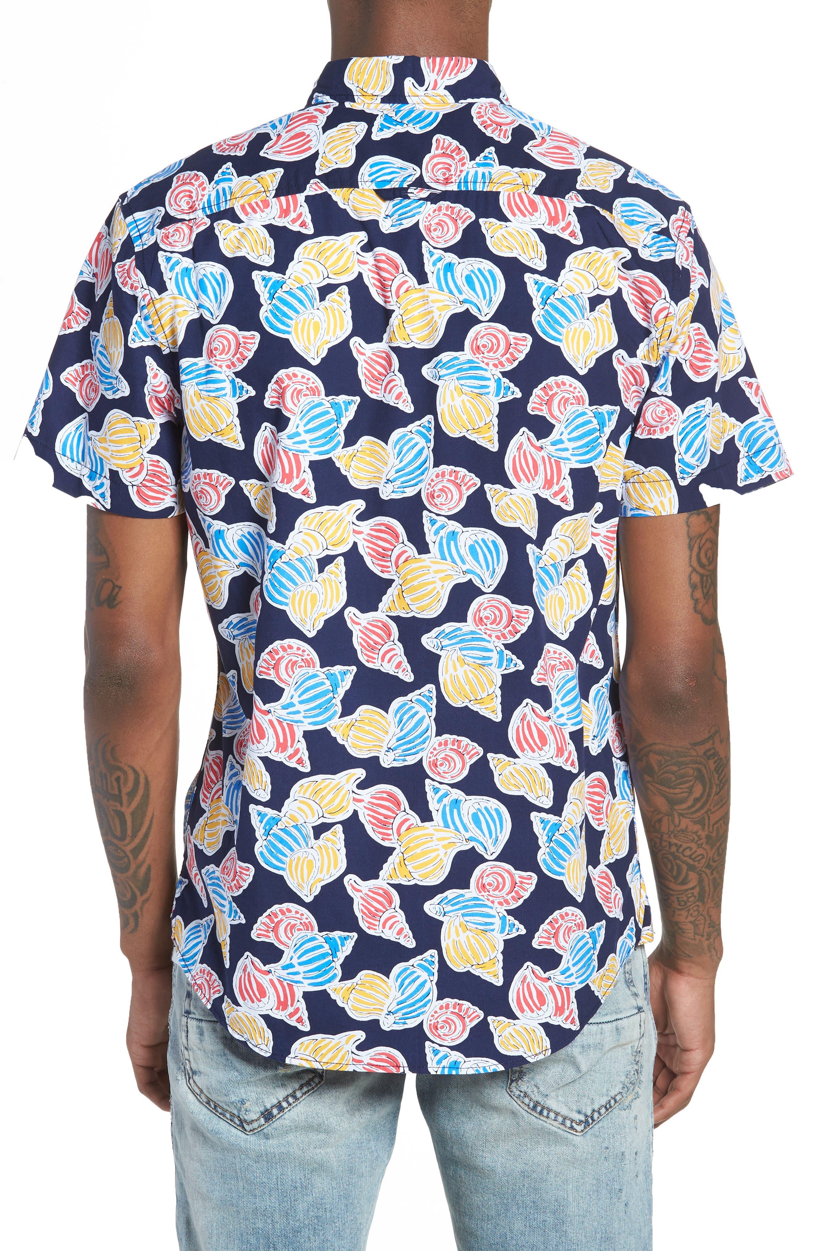 Print Nep Woven Shirt,                             Alternate thumbnail 3, color,                             Navy Shell Print