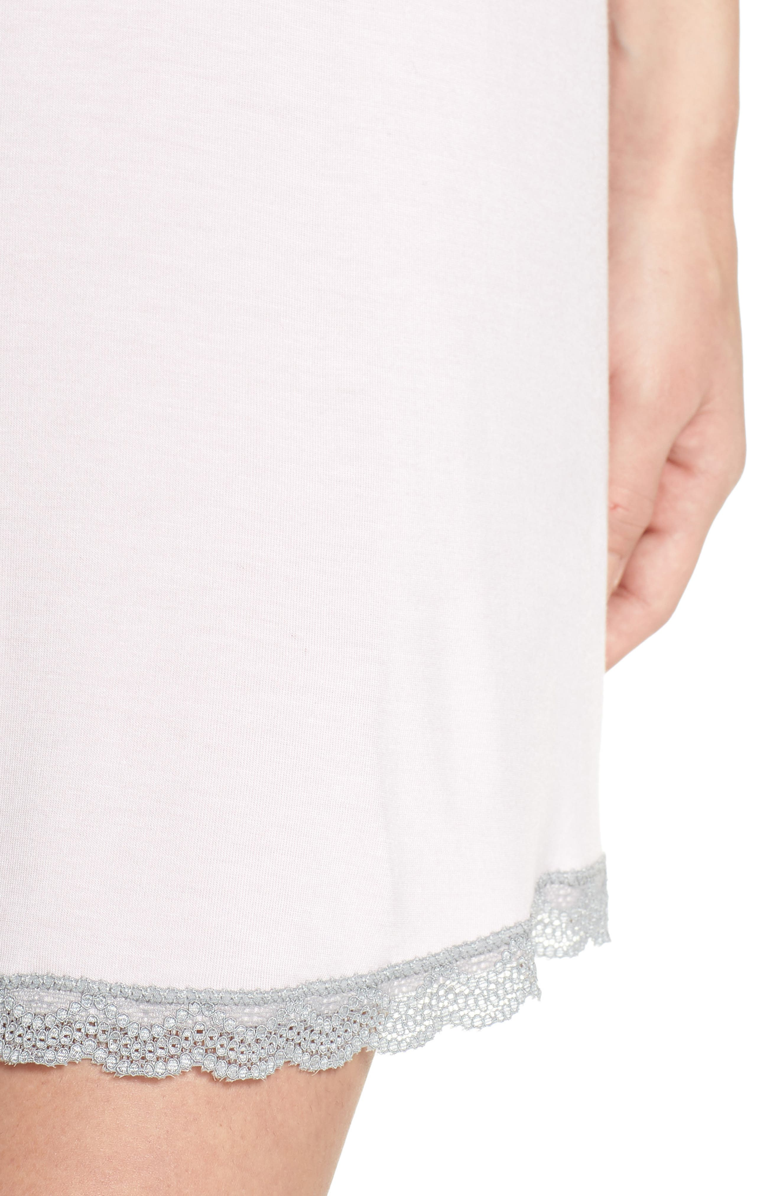 Honeydew Lace Trim Sleep Shirt,                             Alternate thumbnail 4, color,                             Cherry Soda