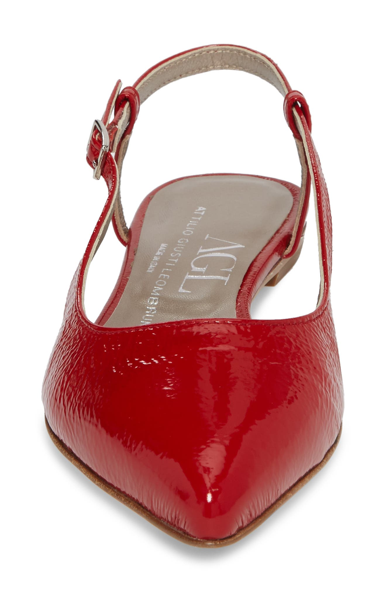 Slingback Flat,                             Alternate thumbnail 4, color,                             Red Glammy Leather