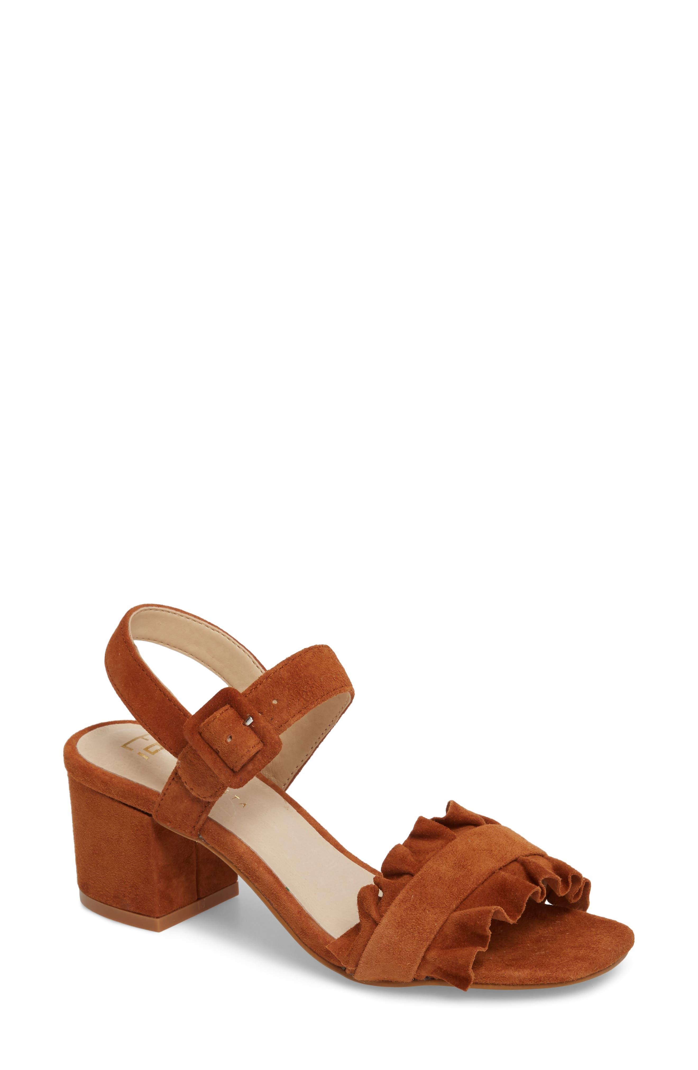 Sandie Block Heel Sandal,                             Main thumbnail 1, color,                             Tan Suede