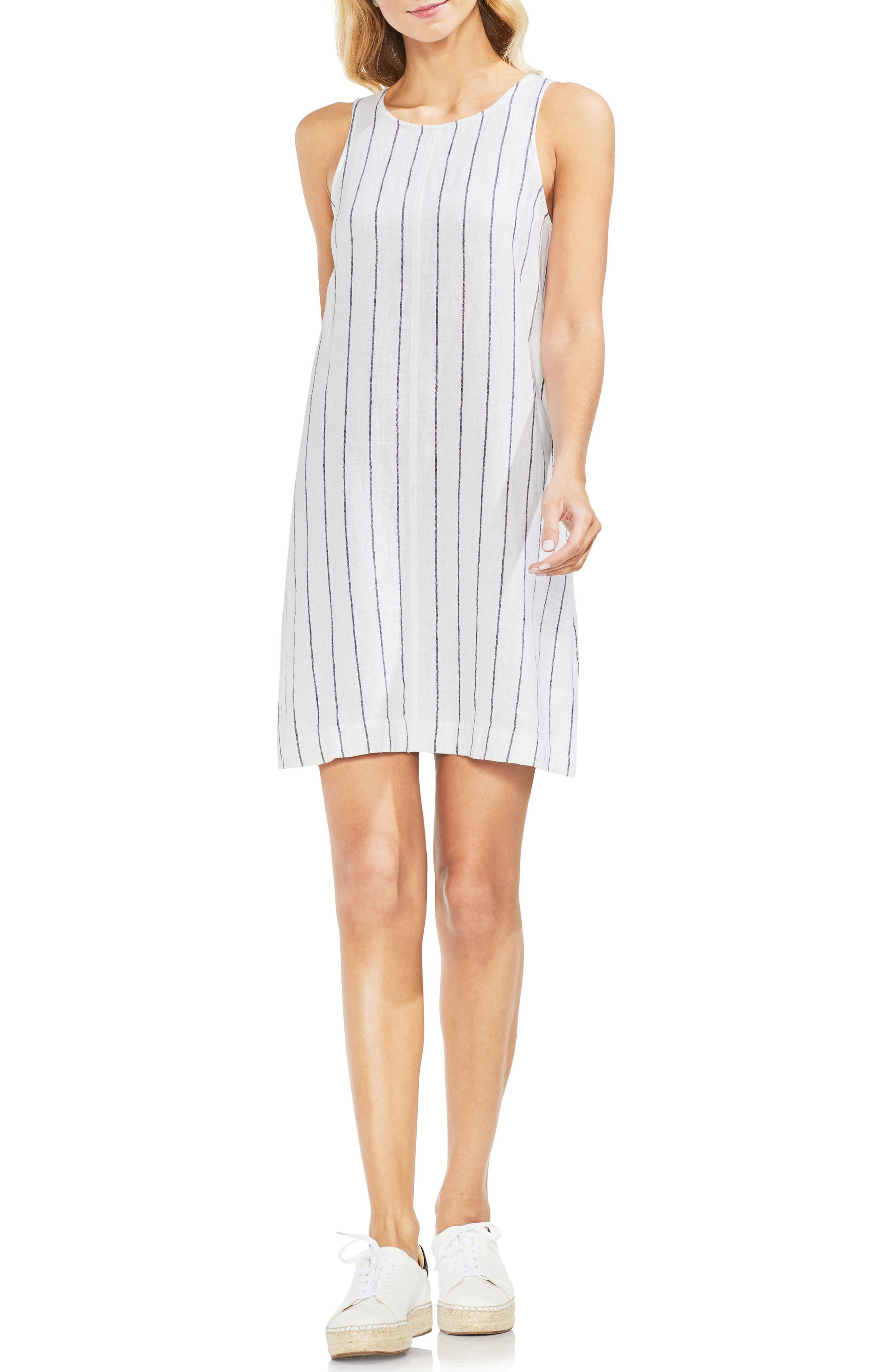 Pinstripe Sleeveless Linen Blend Dress,                         Main,                         color, Ultra White