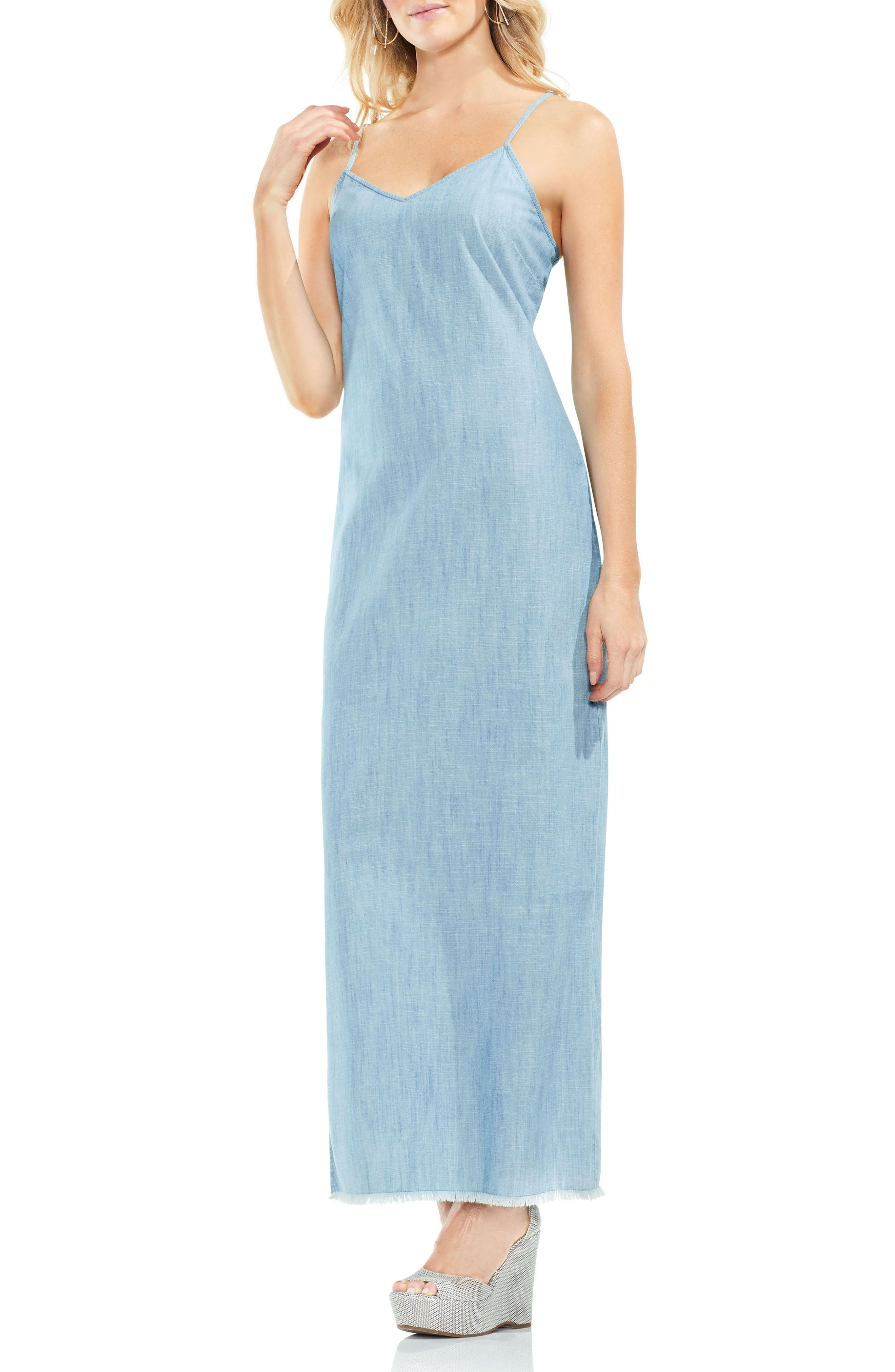 Chambray Maxi Slip Dress,                         Main,                         color, Ice Lagoon