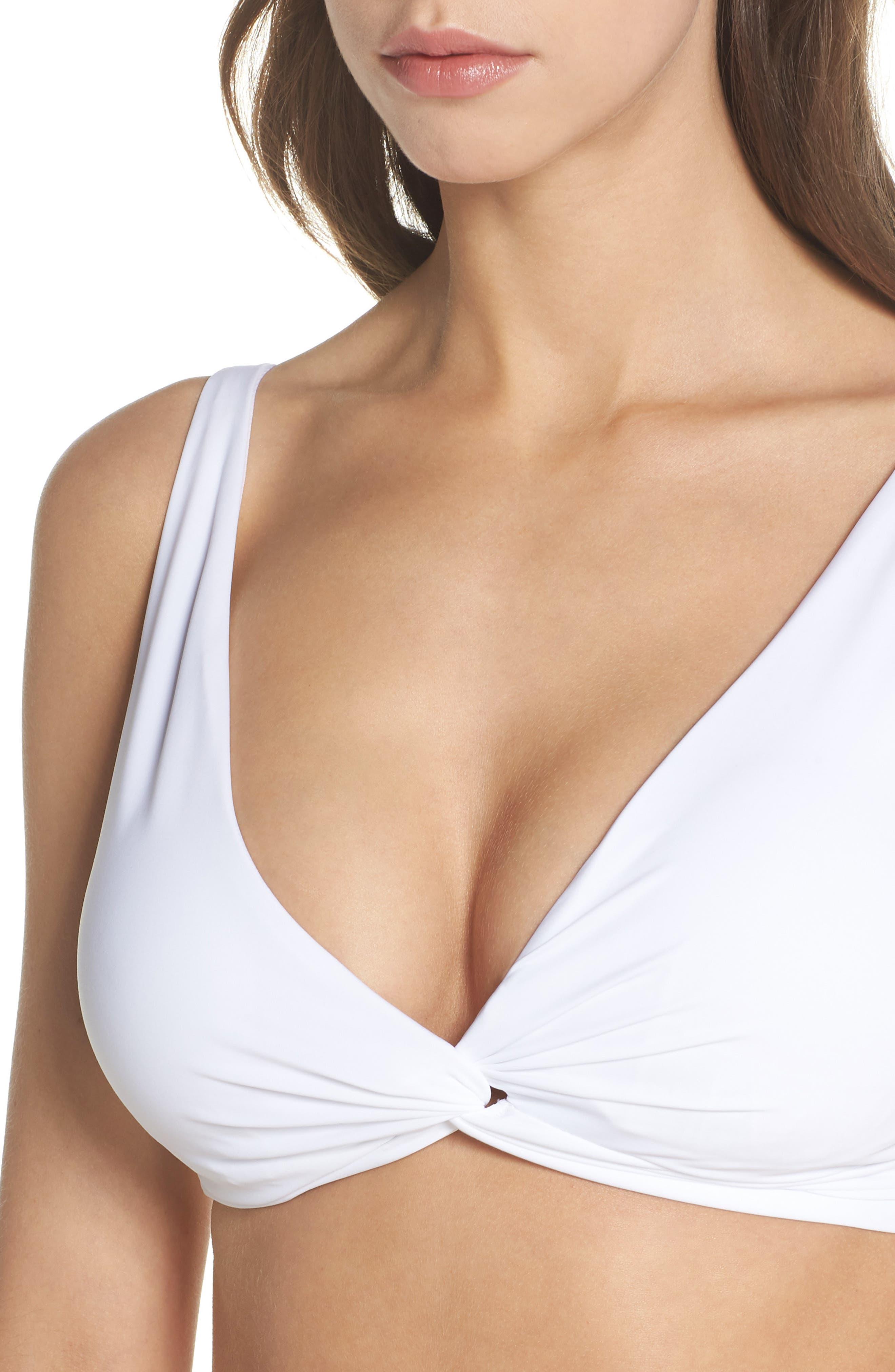 Pearl Twist Front Underwire Bikini Top,                             Alternate thumbnail 4, color,                             White