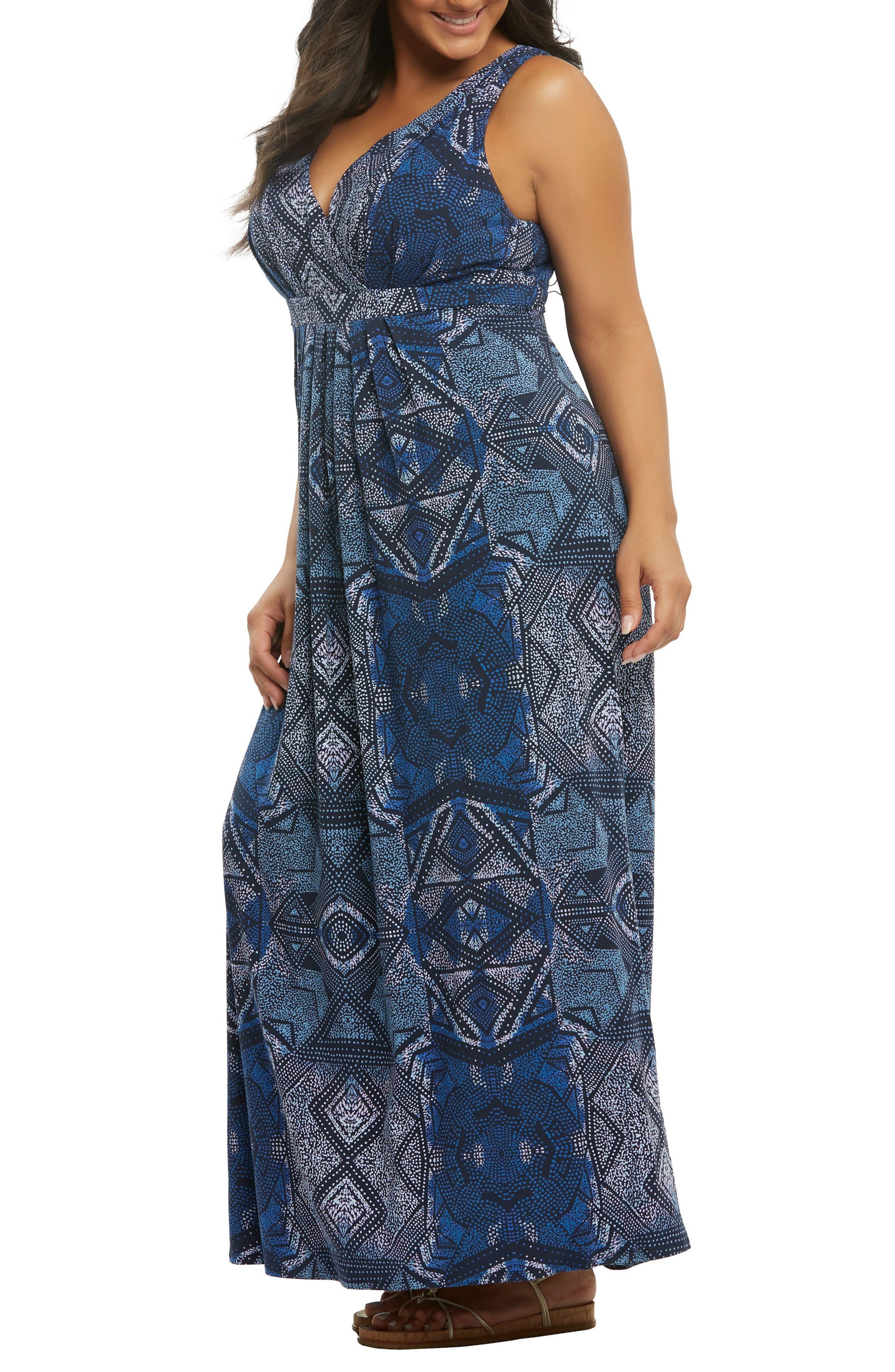 Chael Lace-Up Back Maxi Dress,                             Alternate thumbnail 3, color,                             Batik Diamonds