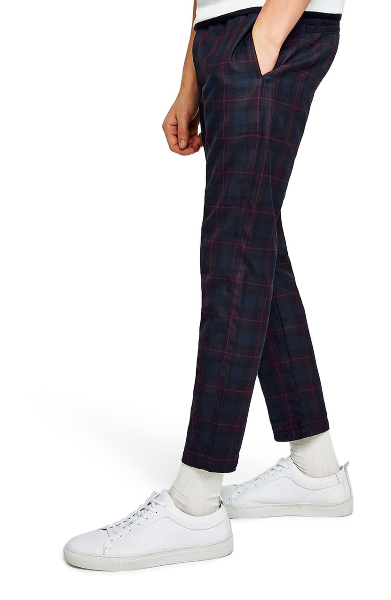Classic Fit Check Woven Jogger Pants,                             Alternate thumbnail 3, color,                             Purple