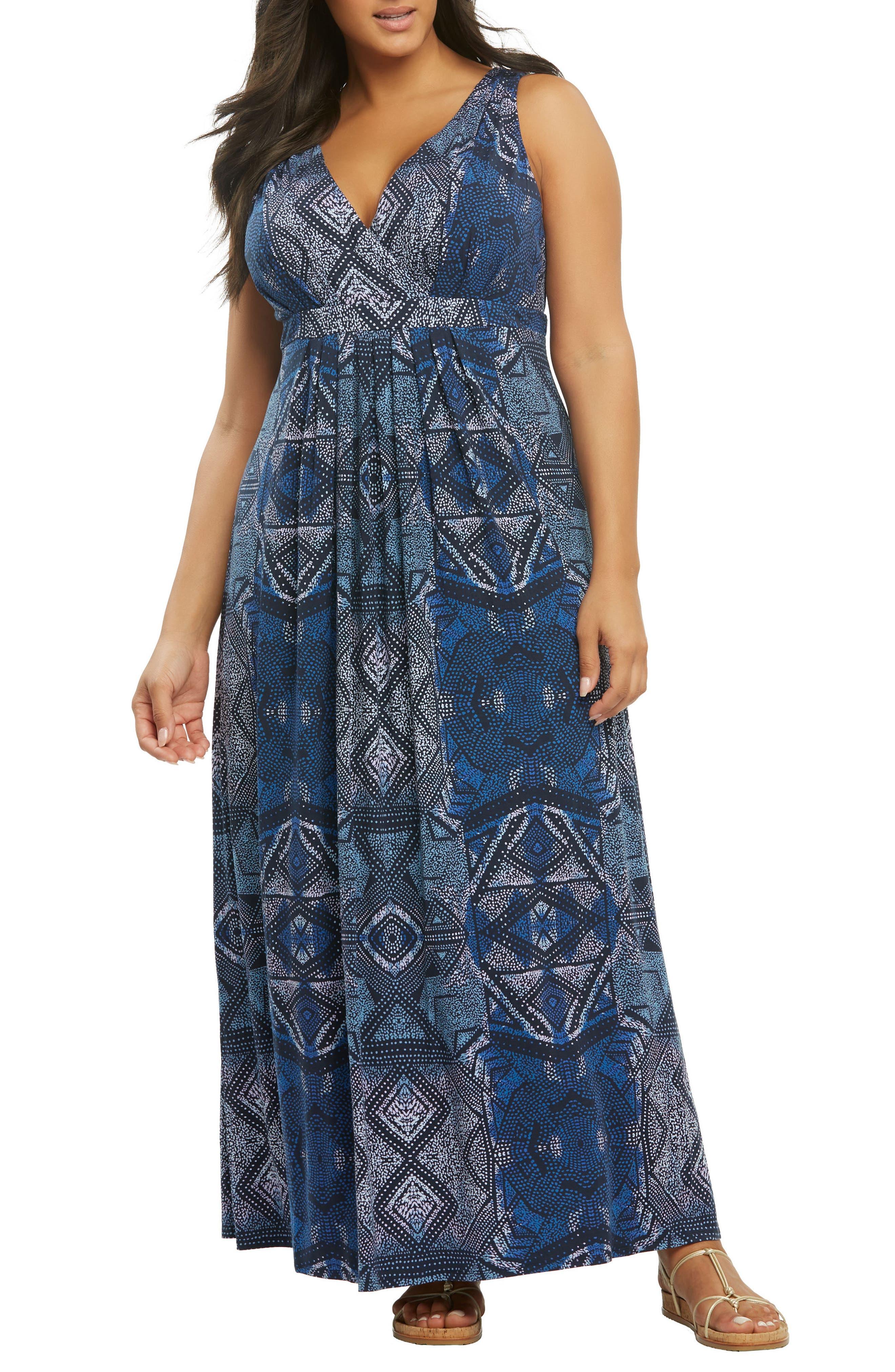 Chael Lace-Up Back Maxi Dress,                         Main,                         color, Batik Diamonds