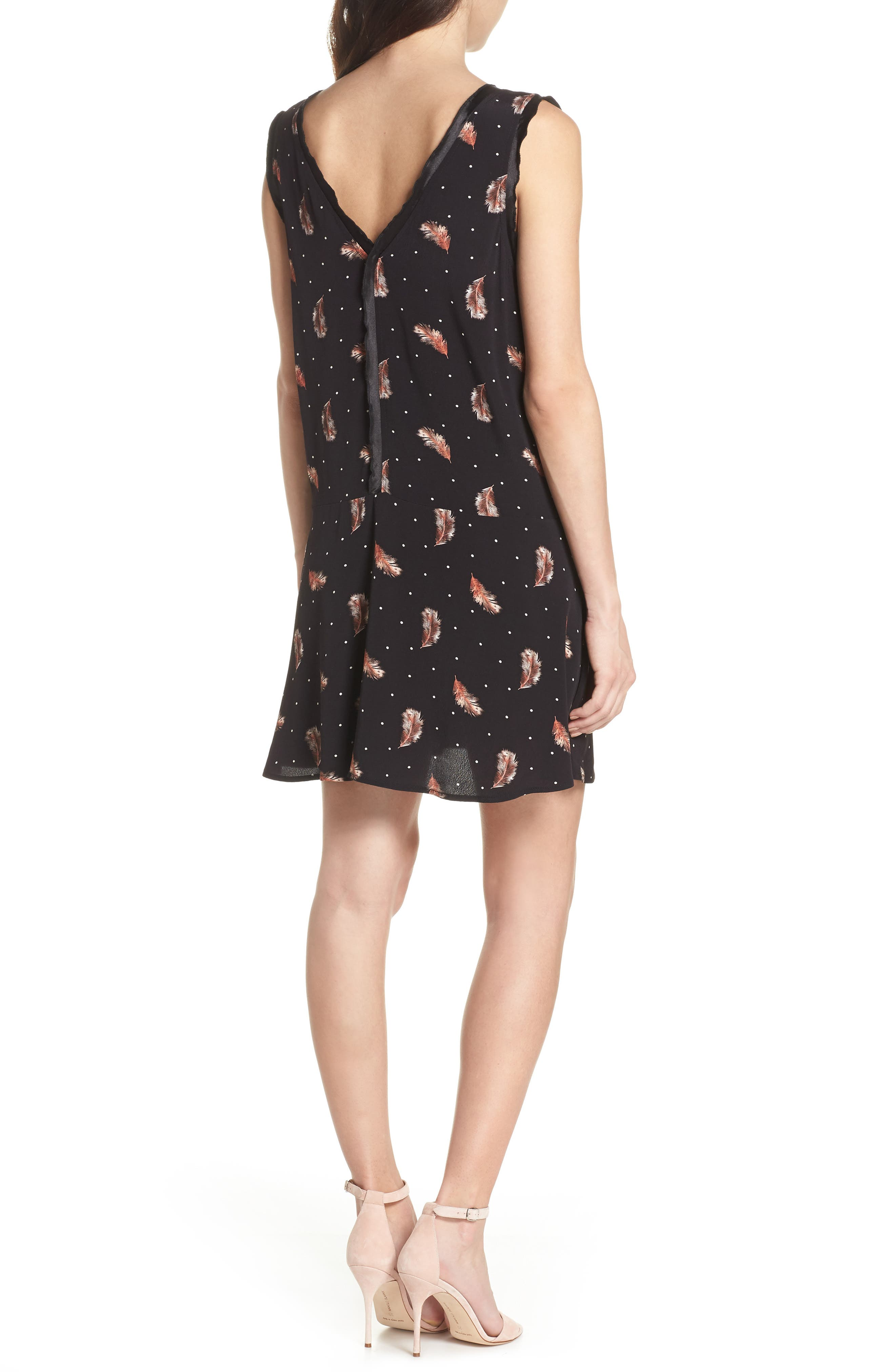 Tuesday Feather Print Dress,                             Alternate thumbnail 2, color,                             Black Feather Dot