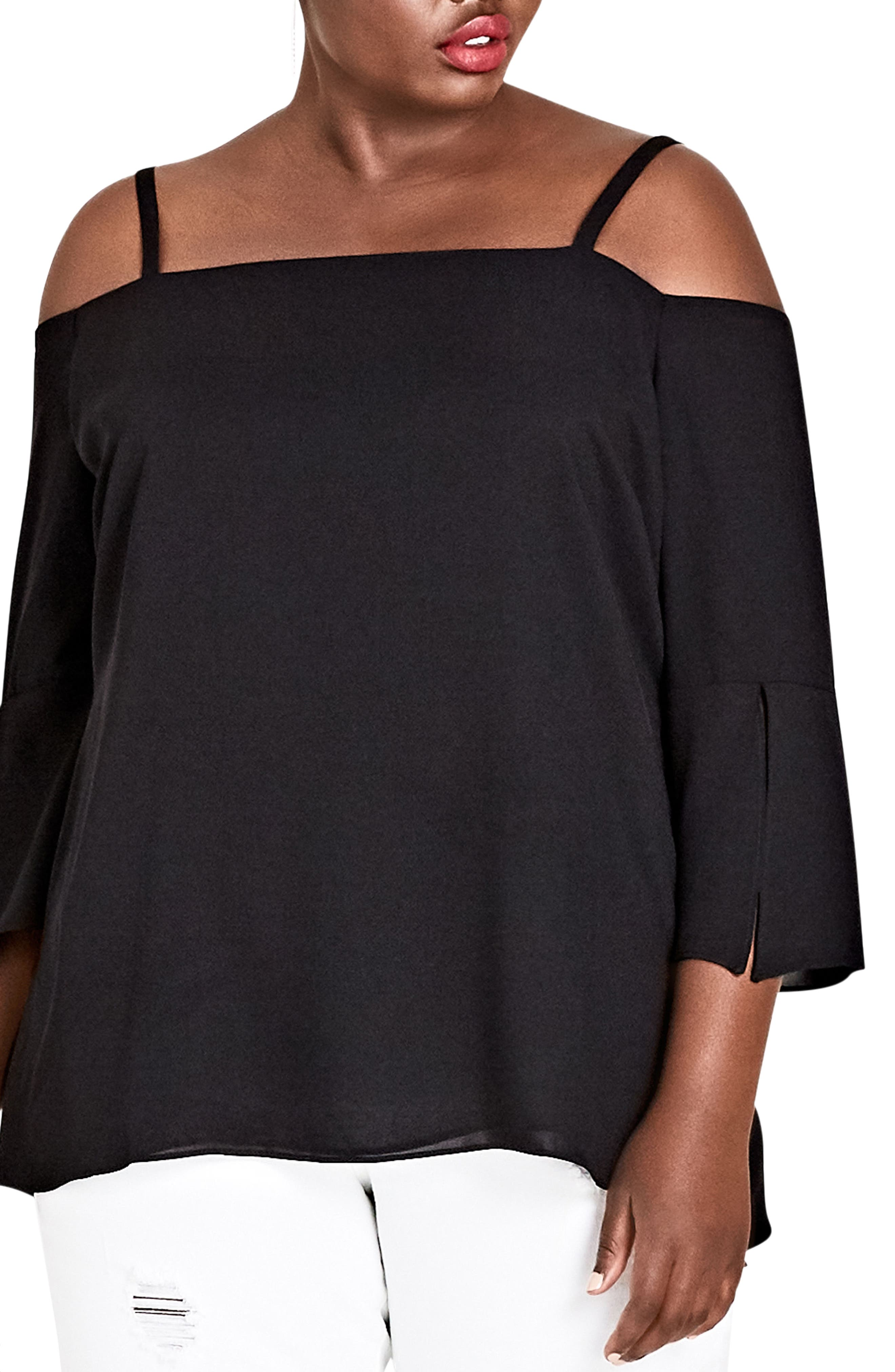 Alternate Image 4  - City Chic Split Sleeve Off the Shoulder Top (Plus Size)