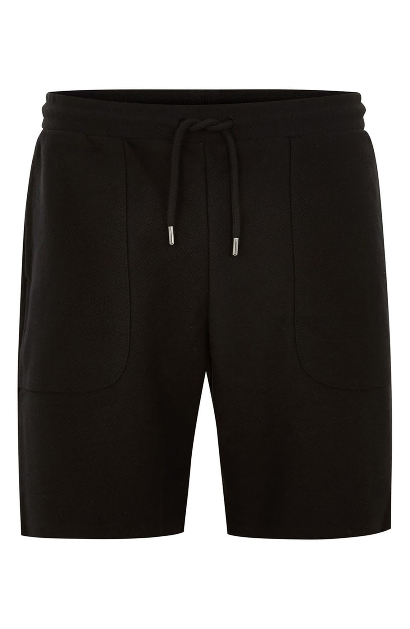 Slim Fit Twill Jersey Shorts,                             Alternate thumbnail 4, color,                             Black