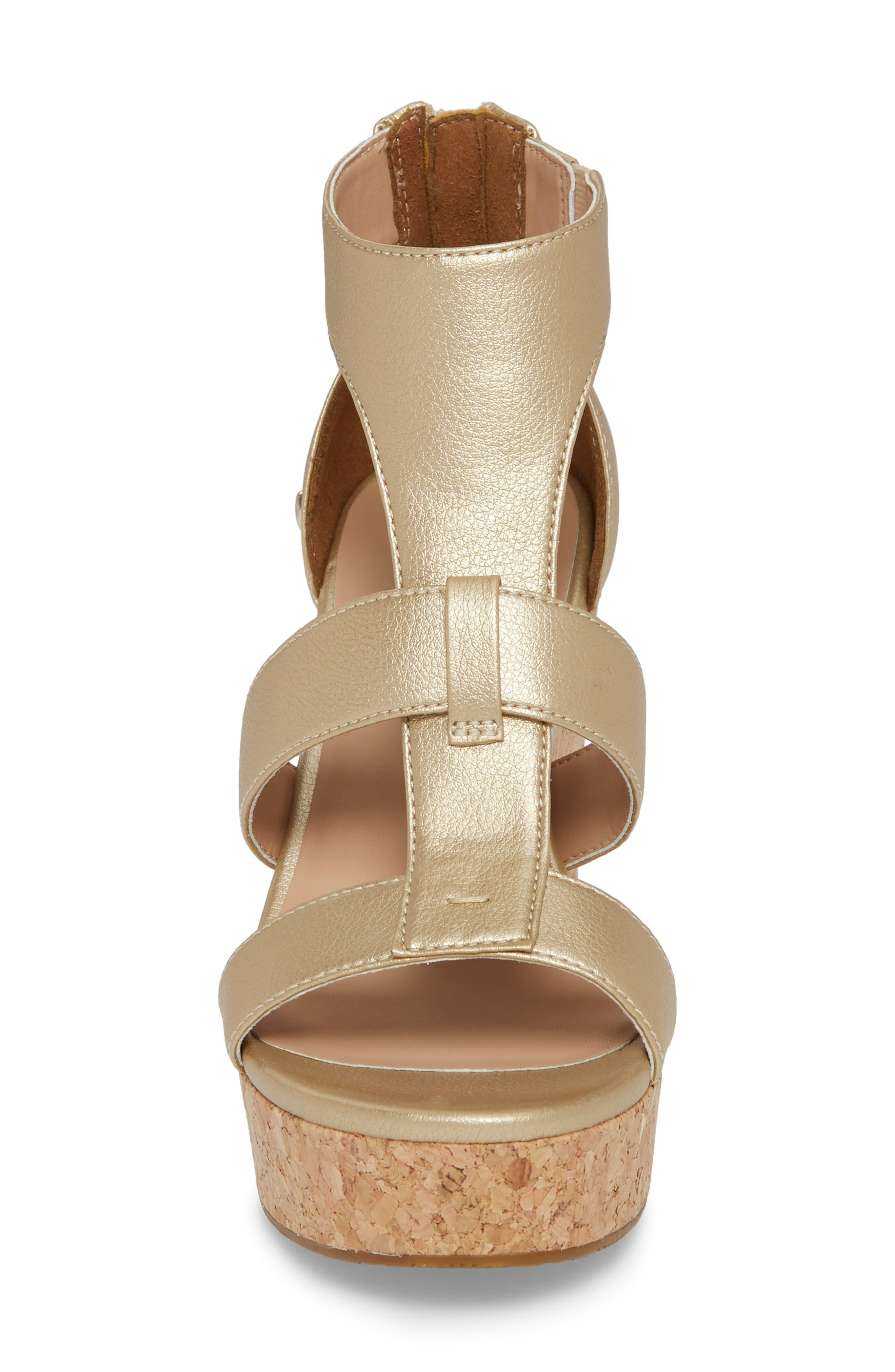Whitney Platform Wedge Sandal,                             Alternate thumbnail 4, color,                             Gold Leather