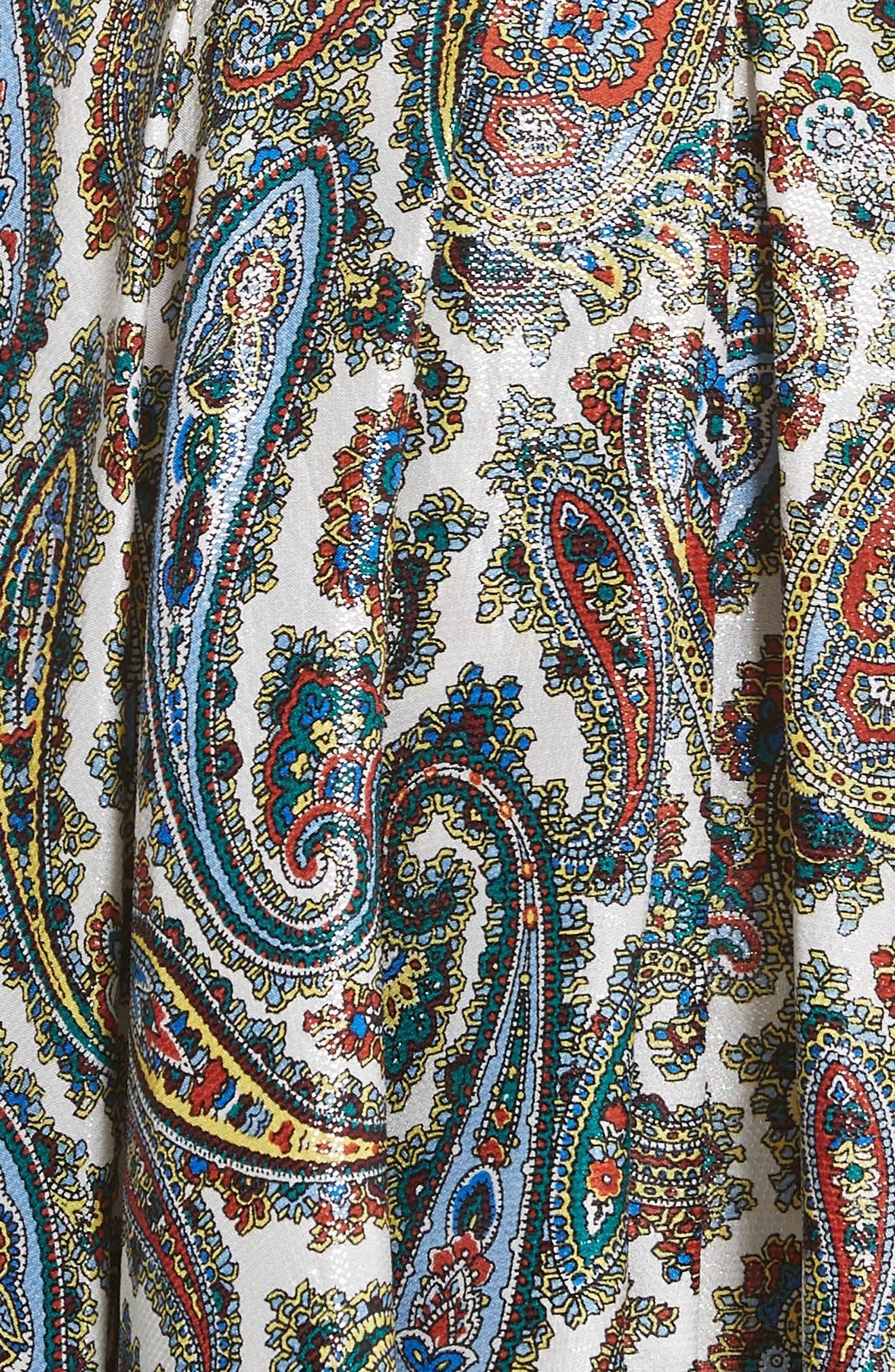 Belted Silk Blend Dress,                             Alternate thumbnail 5, color,                             Barton Logo Ivory