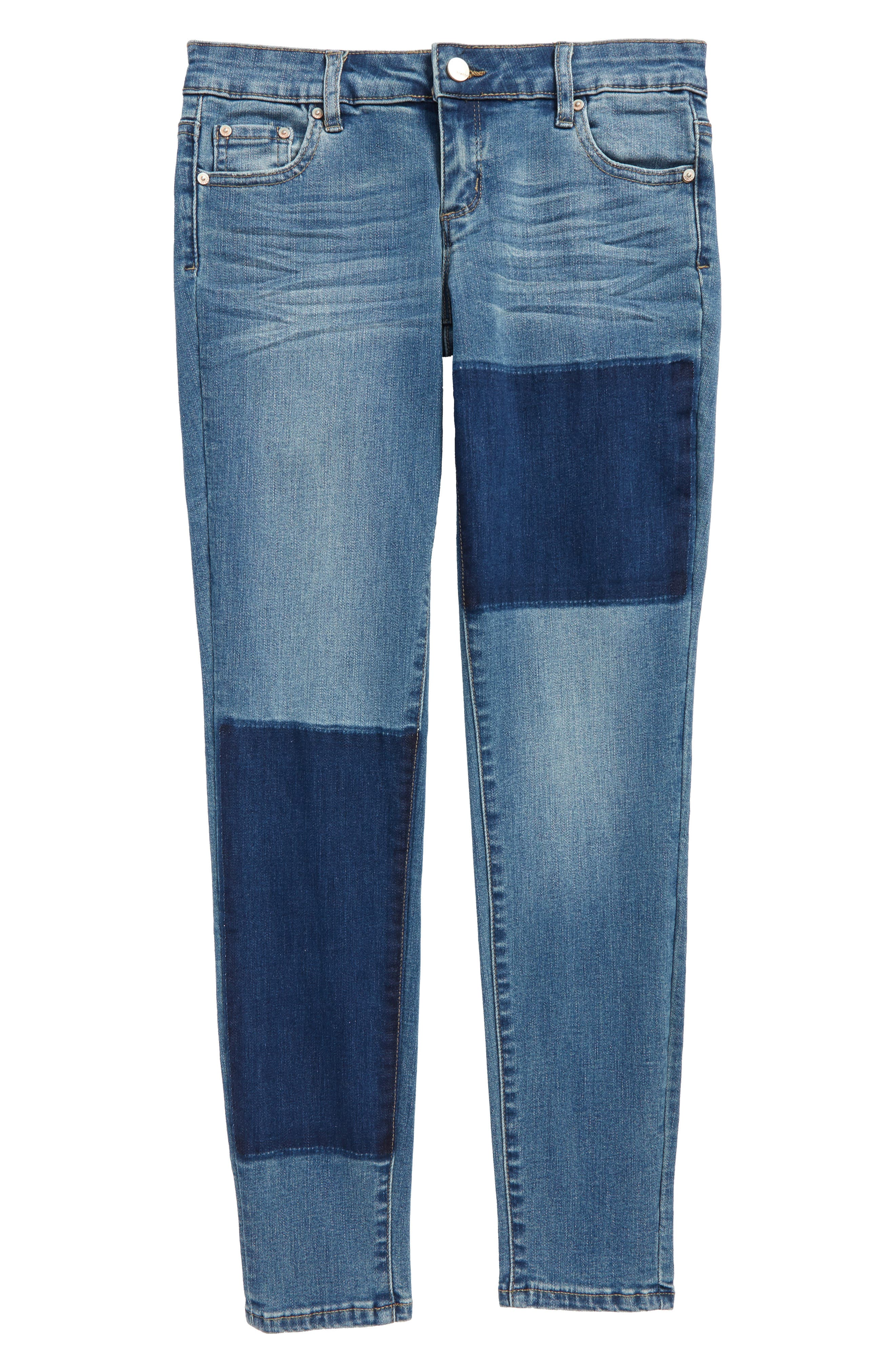 Patch Ankle Skinny Jeans,                         Main,                         color, Indigo