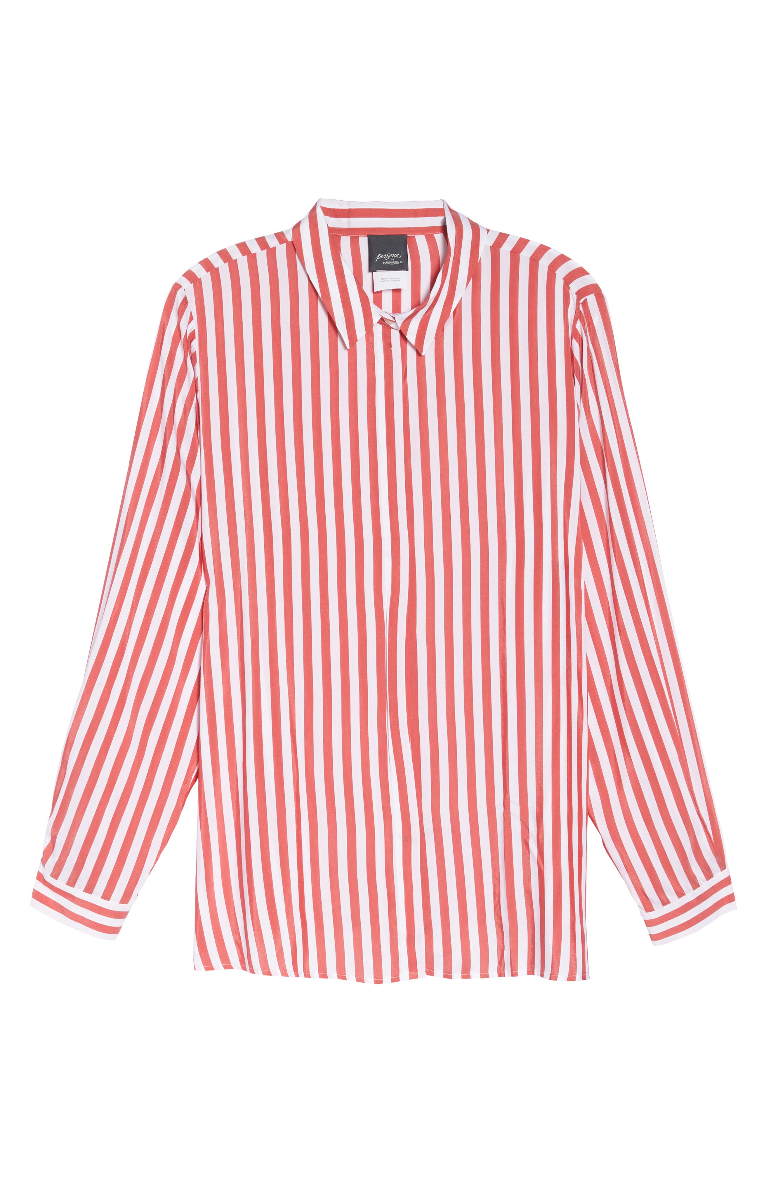 Stripe Blouse,                             Alternate thumbnail 7, color,                             Red/ White Stripe