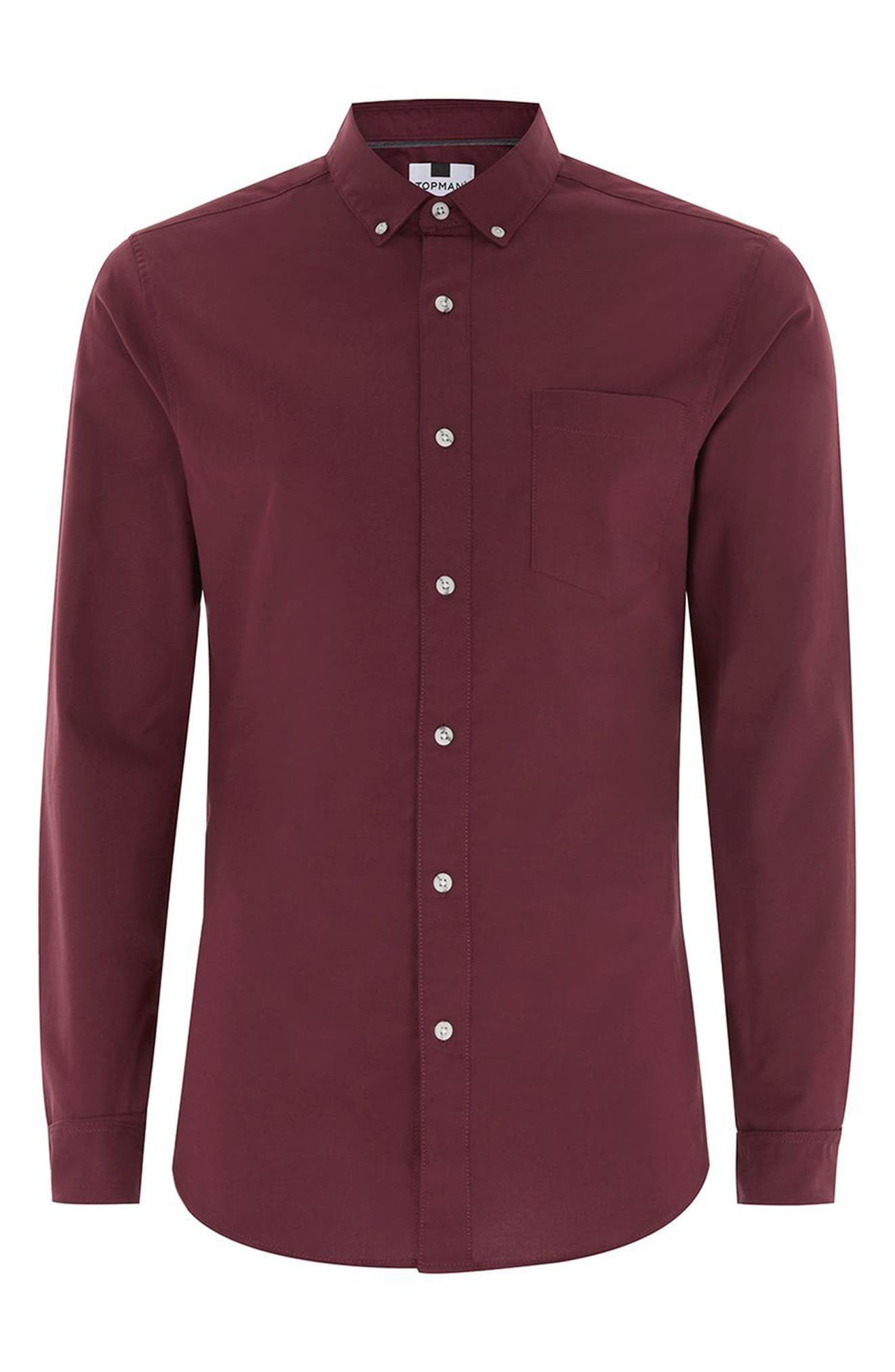 Muscle Fit Oxford Shirt,                             Alternate thumbnail 4, color,                             Burgundy