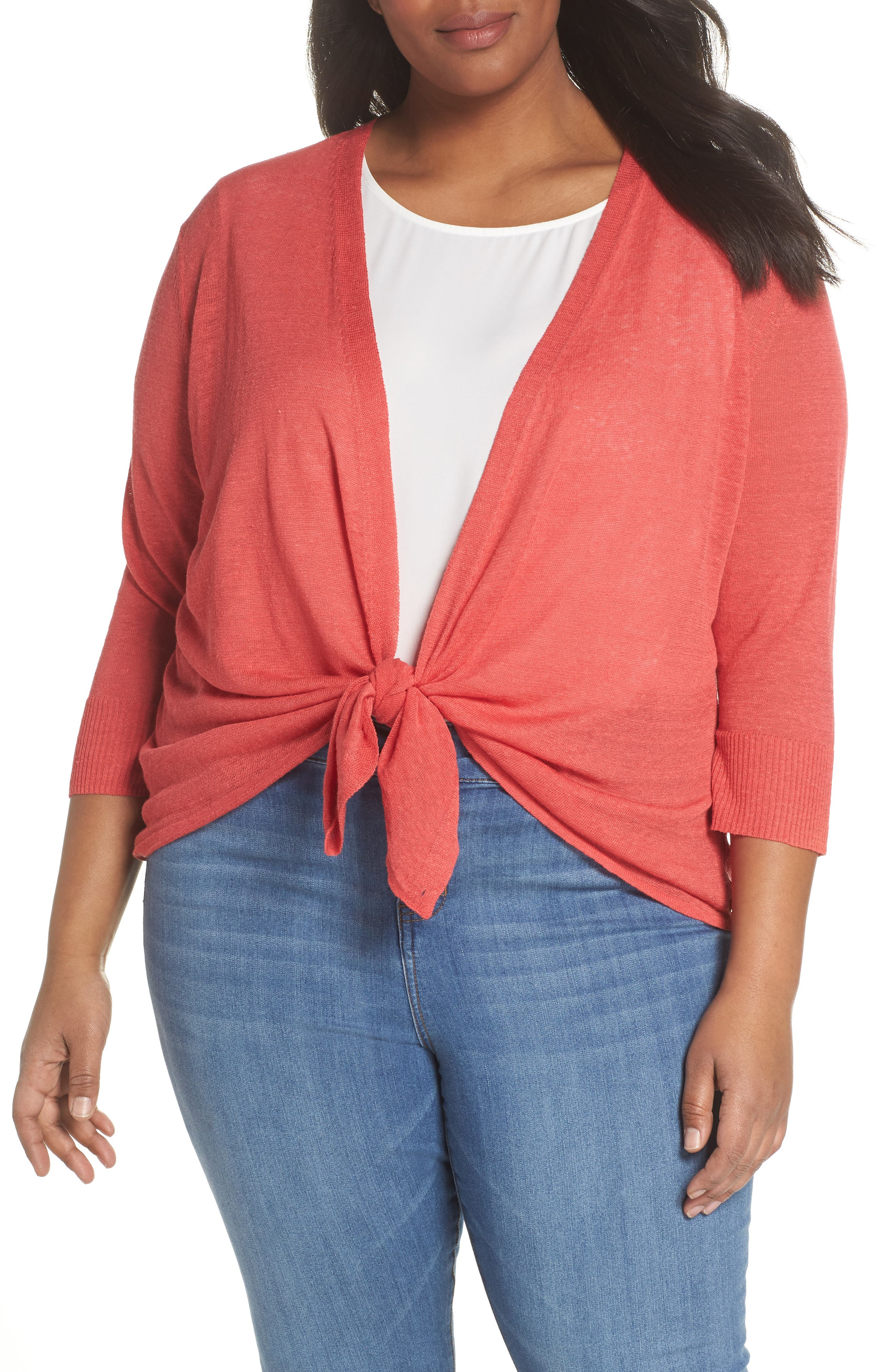 4-Way Convertible Three Quarter Sleeve Cardigan,                             Alternate thumbnail 2, color,                             Spiced Rose