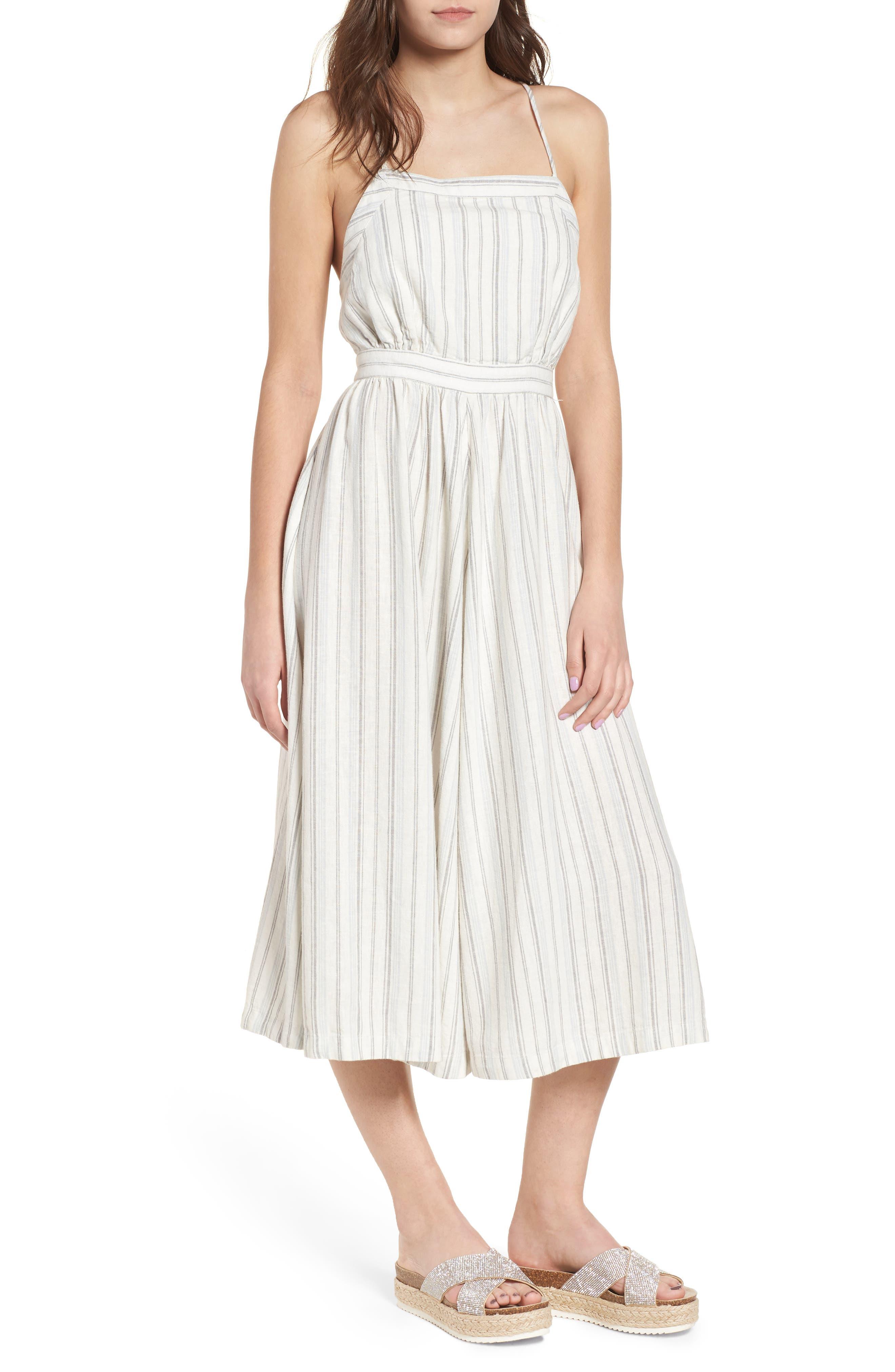 Stripe Apron Dress,                             Main thumbnail 1, color,                             Ivory Verigated Stripe