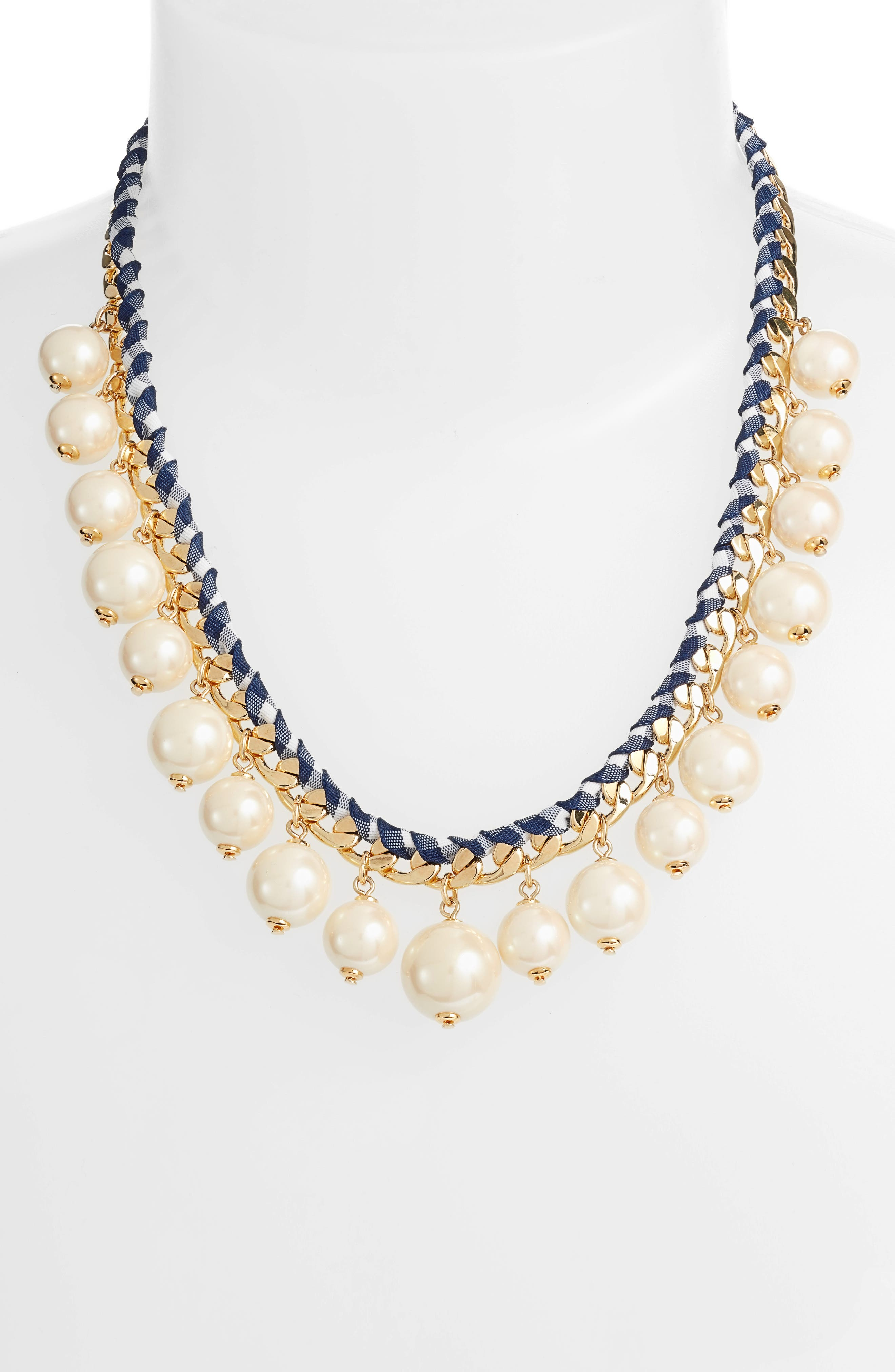 pretty pearly imitation pearl necklace,                             Alternate thumbnail 2, color,                             Navy Multi