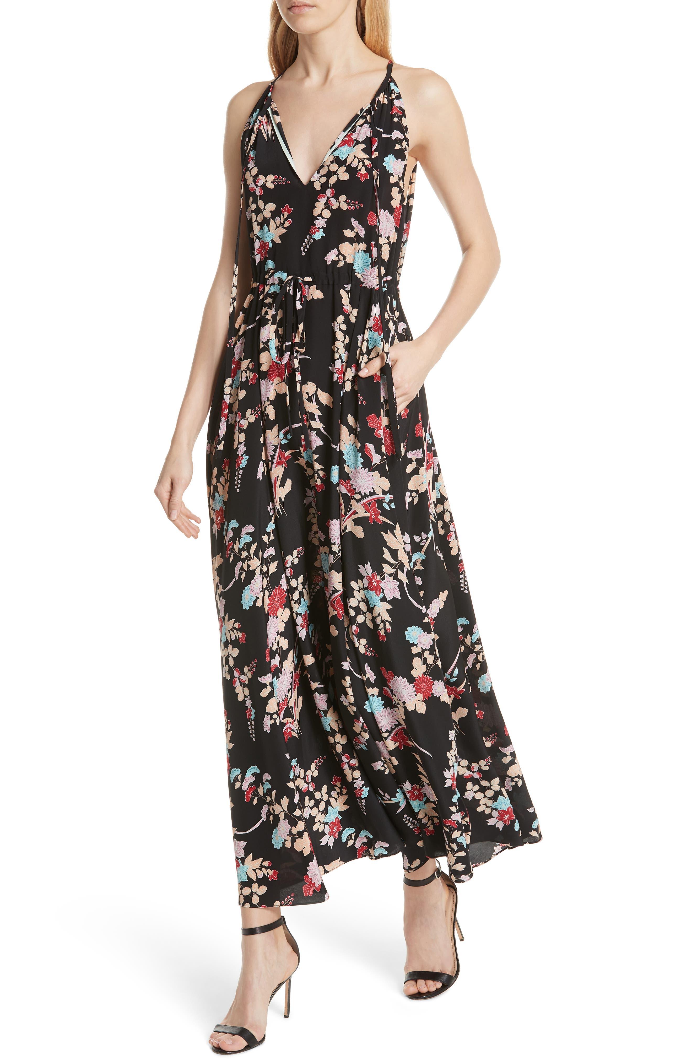 Floral Keyhole Tie Waist Silk Maxi Dress,                             Alternate thumbnail 4, color,                             Walden Black