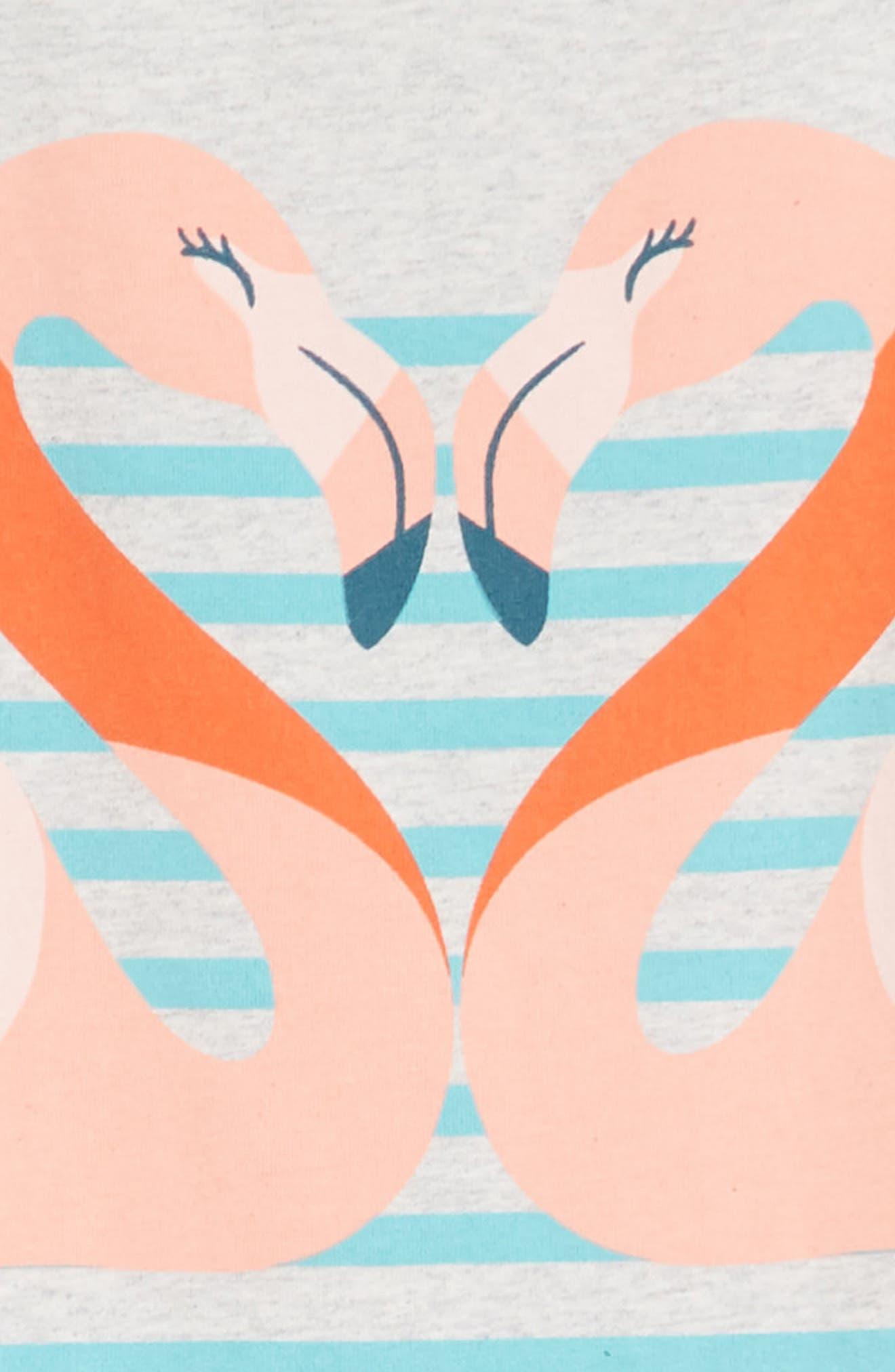 Flamingo T-Shirt Dress,                             Alternate thumbnail 3, color,                             Light Grey Heather
