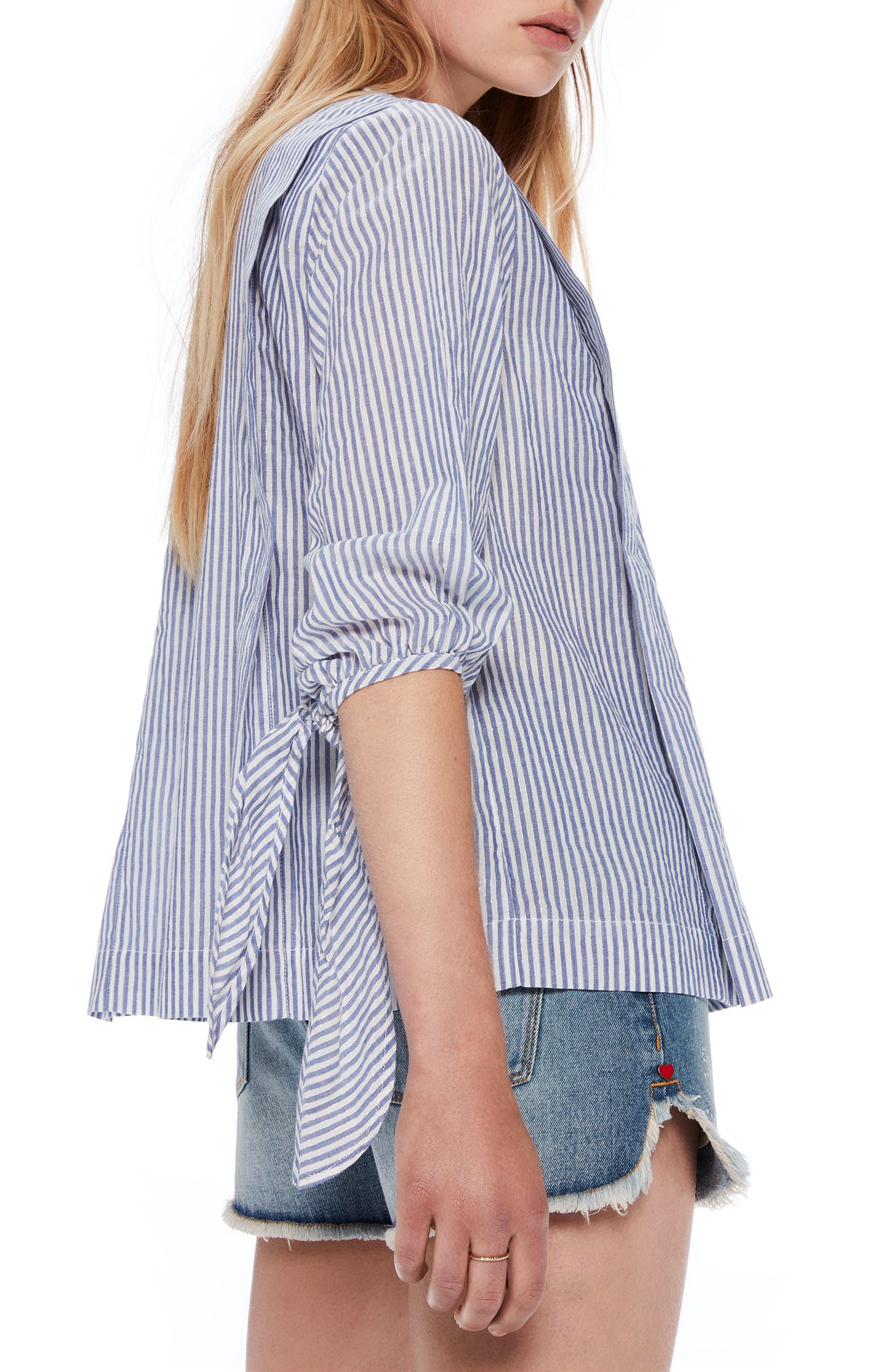 Metallic Stripe Tie Sleeve Top,                             Alternate thumbnail 2, color,                             Combo A