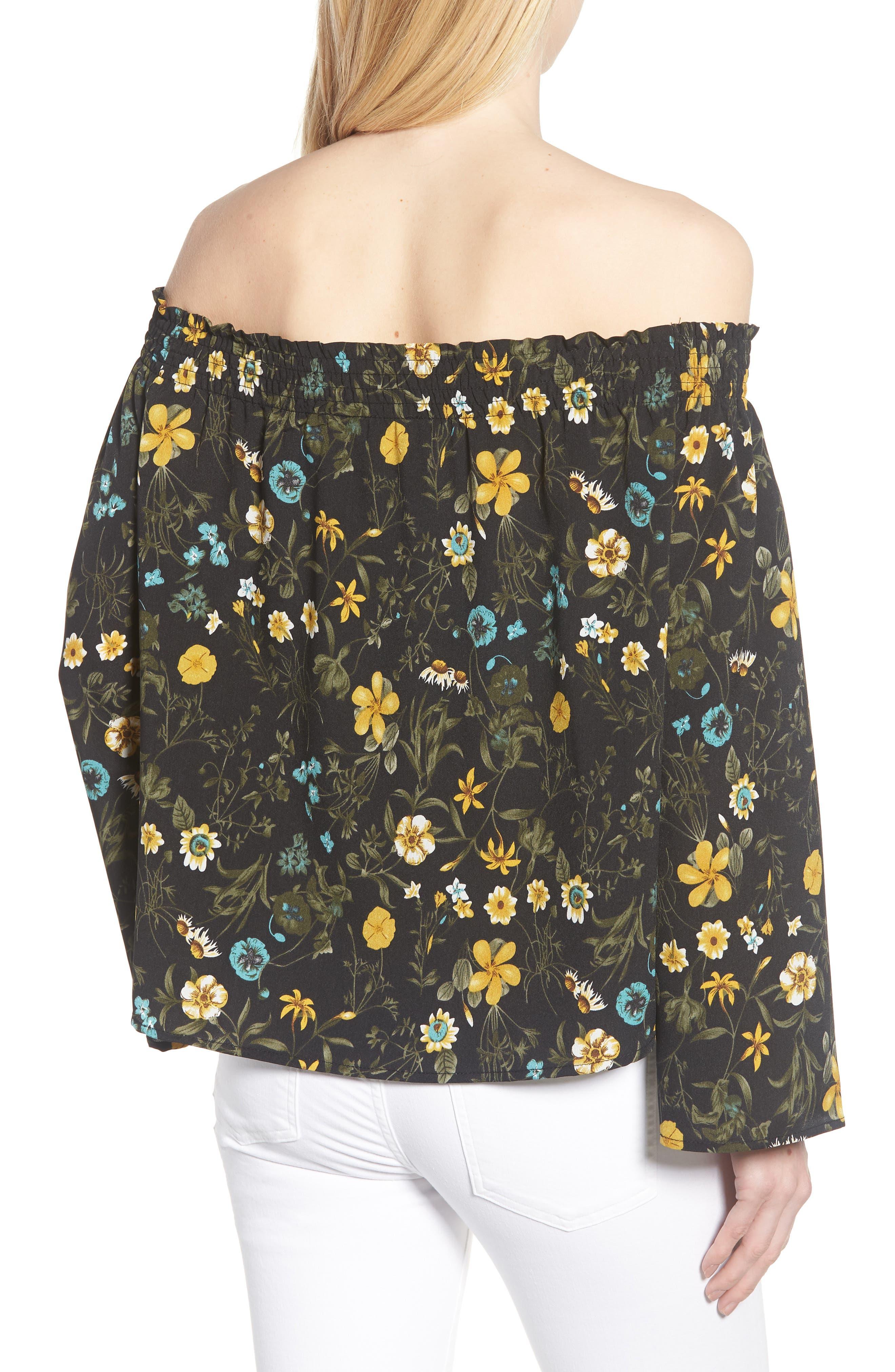 Off the Shoulder Tassel Top,                             Alternate thumbnail 2, color,                             Black Floral