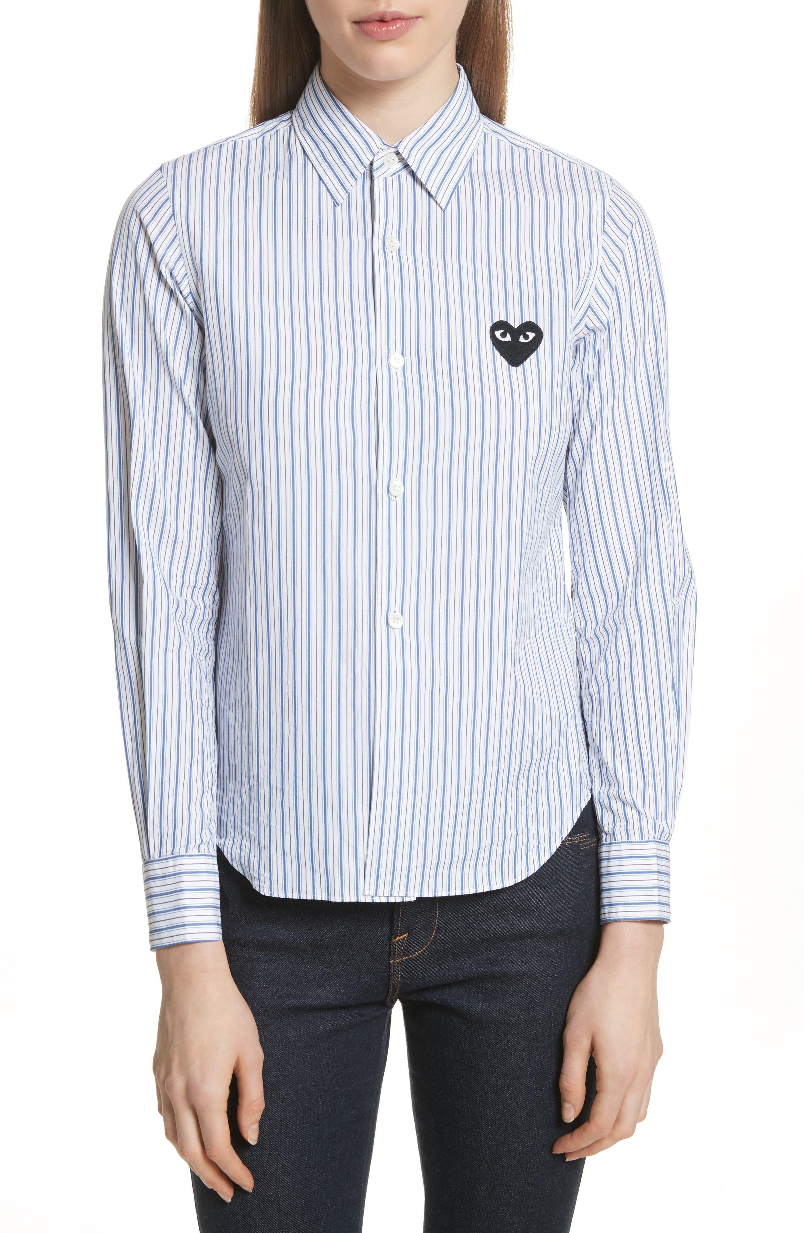 Comme des Garçons PLAY Stripe Shirt,                             Main thumbnail 1, color,                             Blue