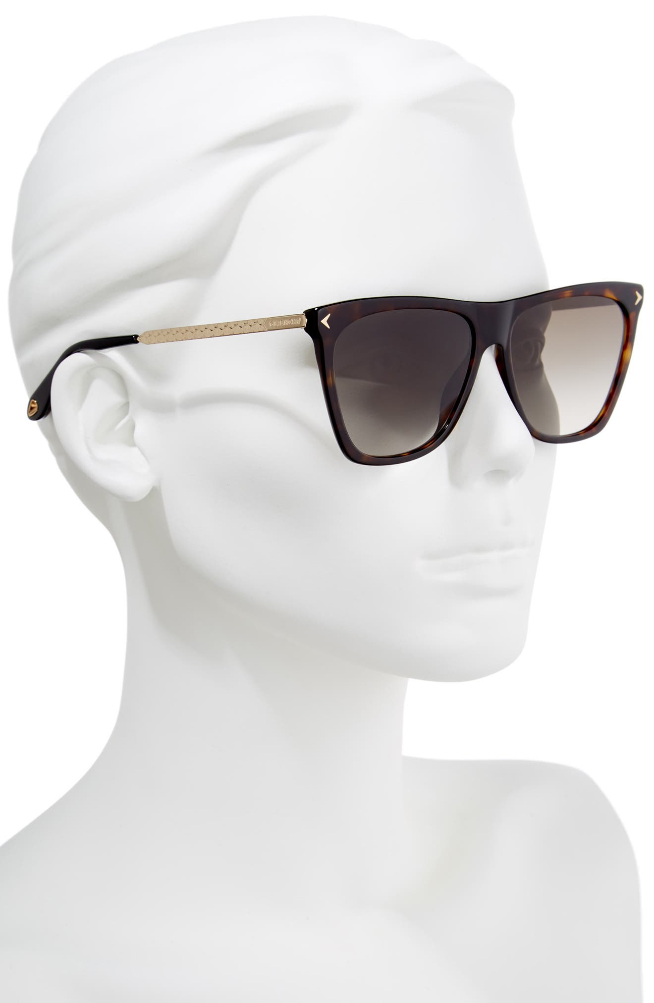 58mm Flat Top Sunglasses,                             Alternate thumbnail 2, color,                             Dark Havana