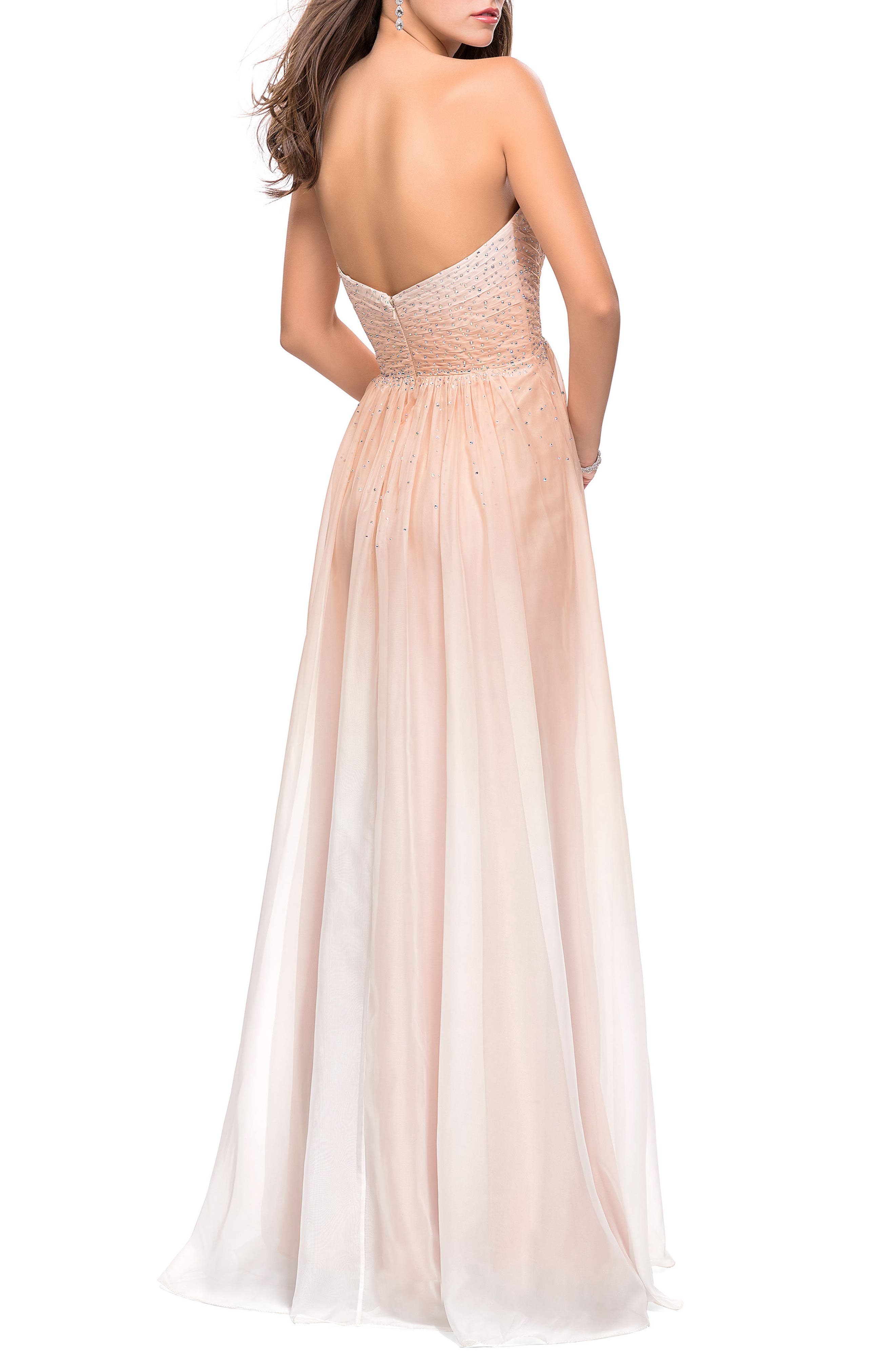 Strapless Chiffon Gown,                             Alternate thumbnail 2, color,                             Nude