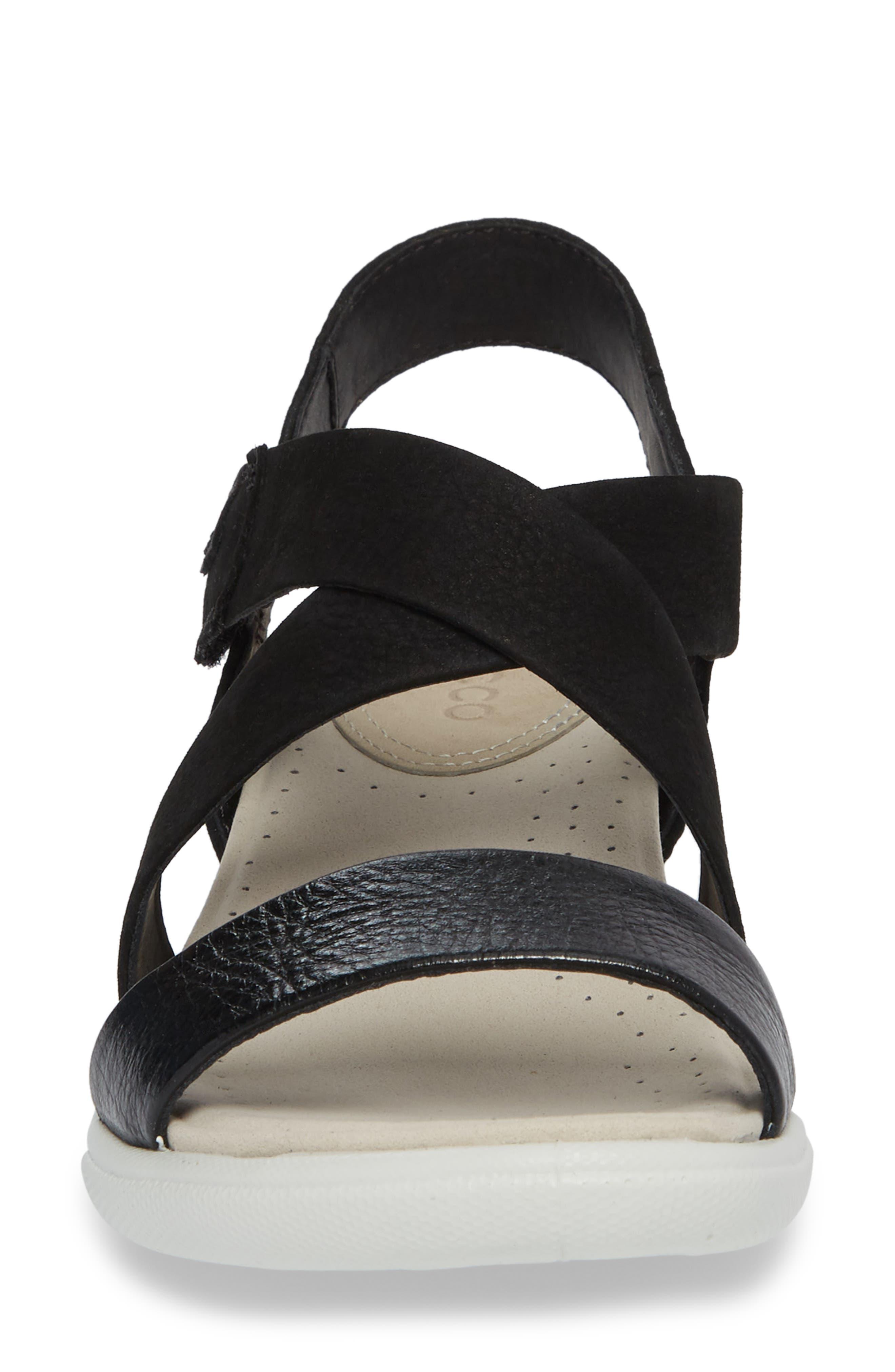 Damara Cross-Strap Sandal,                             Alternate thumbnail 4, color,                             Black Leather