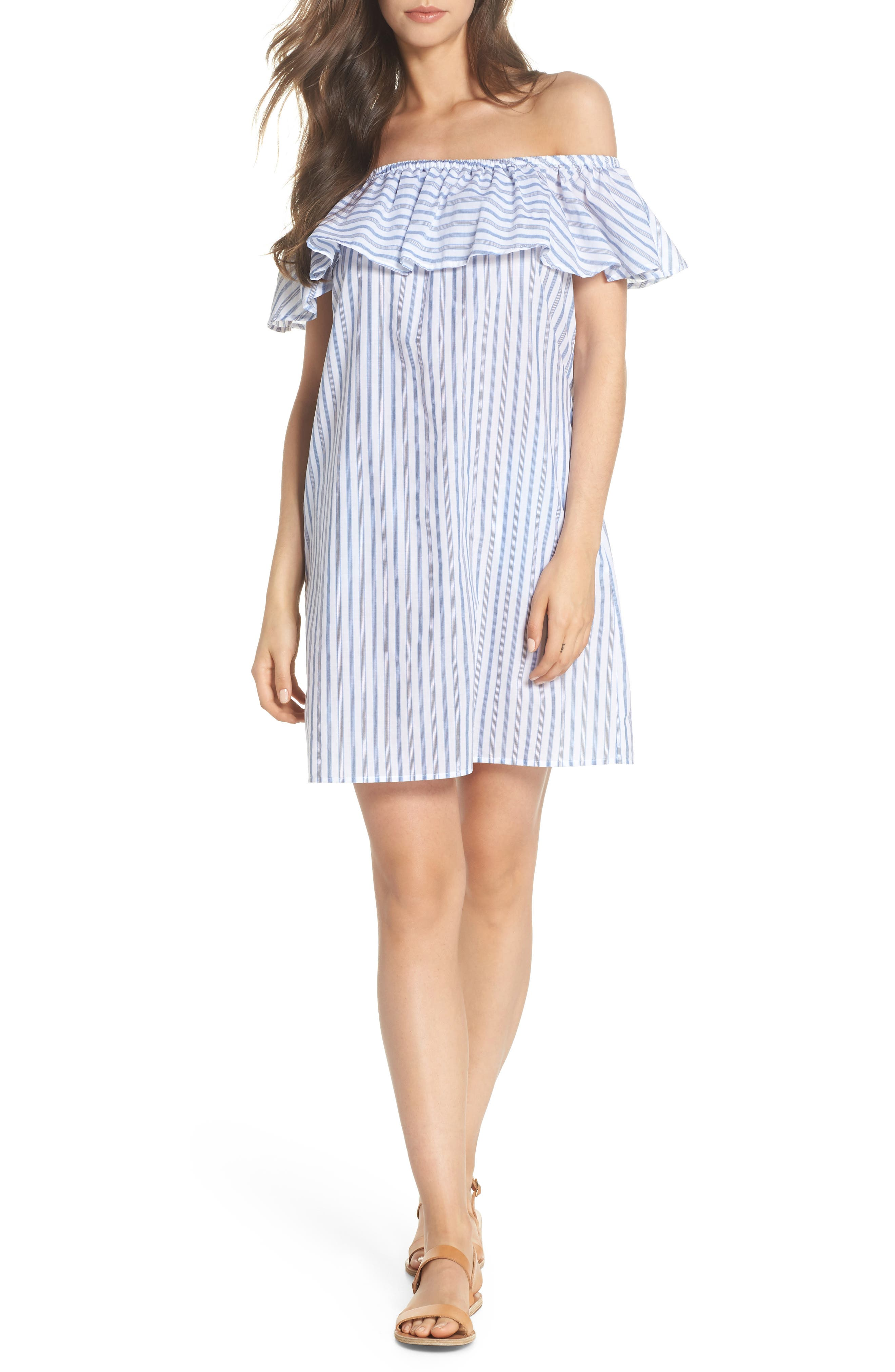 Ticking Stripe Off the Shoulder Cover-Up Dress,                             Main thumbnail 1, color,                             White