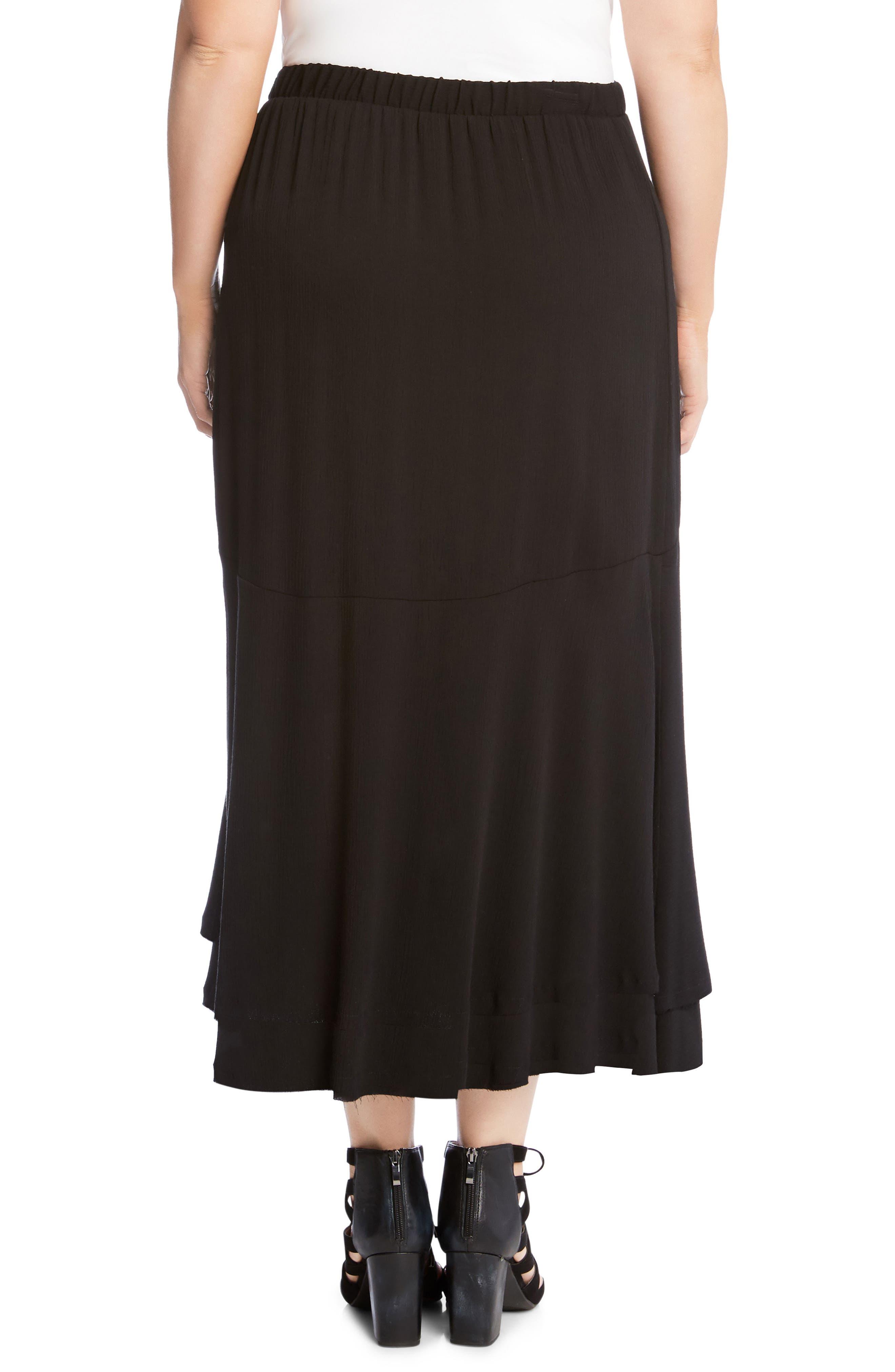 Asymmetrical Hem High/Low Skirt,                             Alternate thumbnail 2, color,                             Black