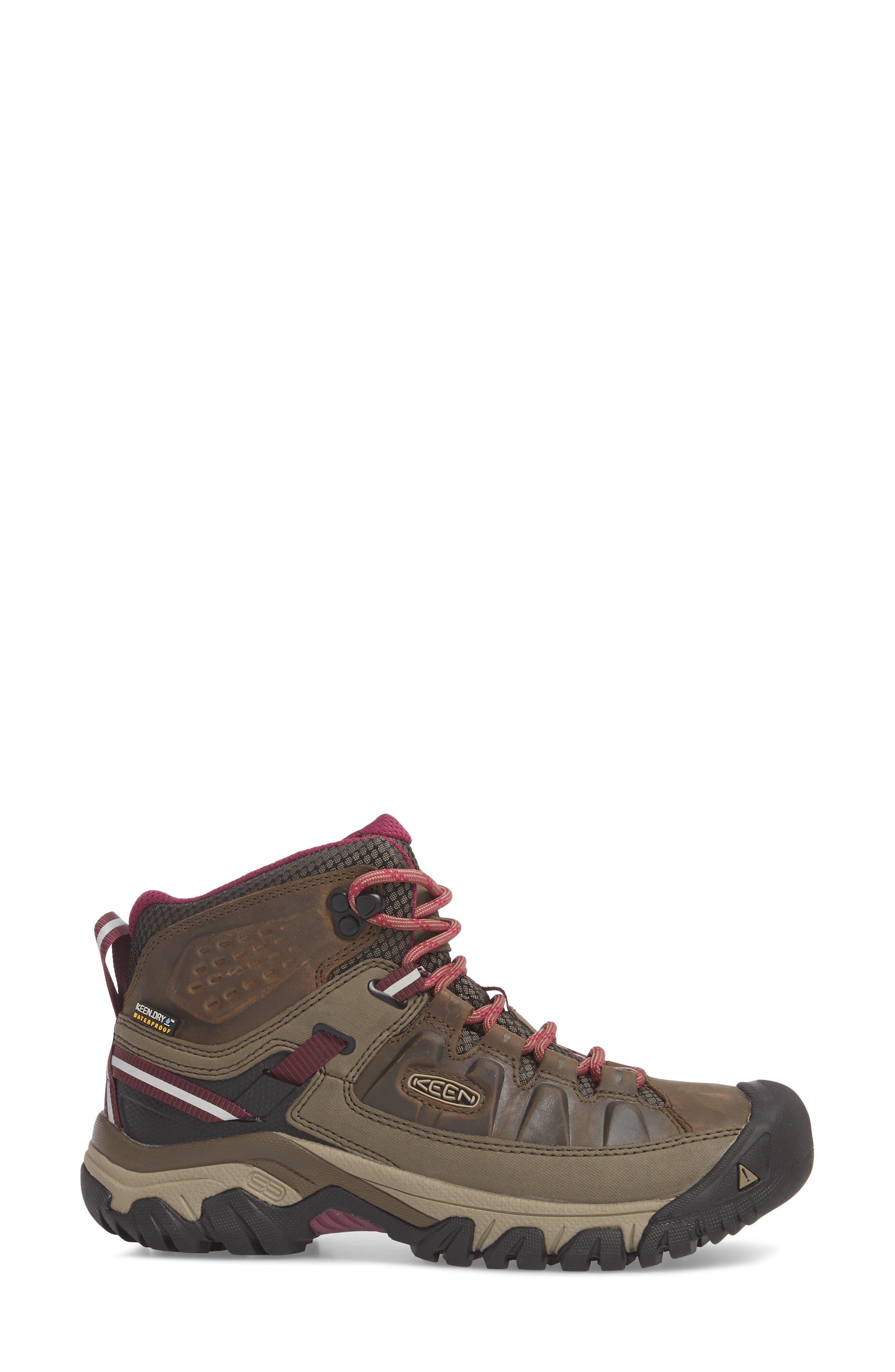 Targhee III Mid Waterproof Hiking Boot,                             Alternate thumbnail 3, color,                             Weiss/ Boysenberry Leather