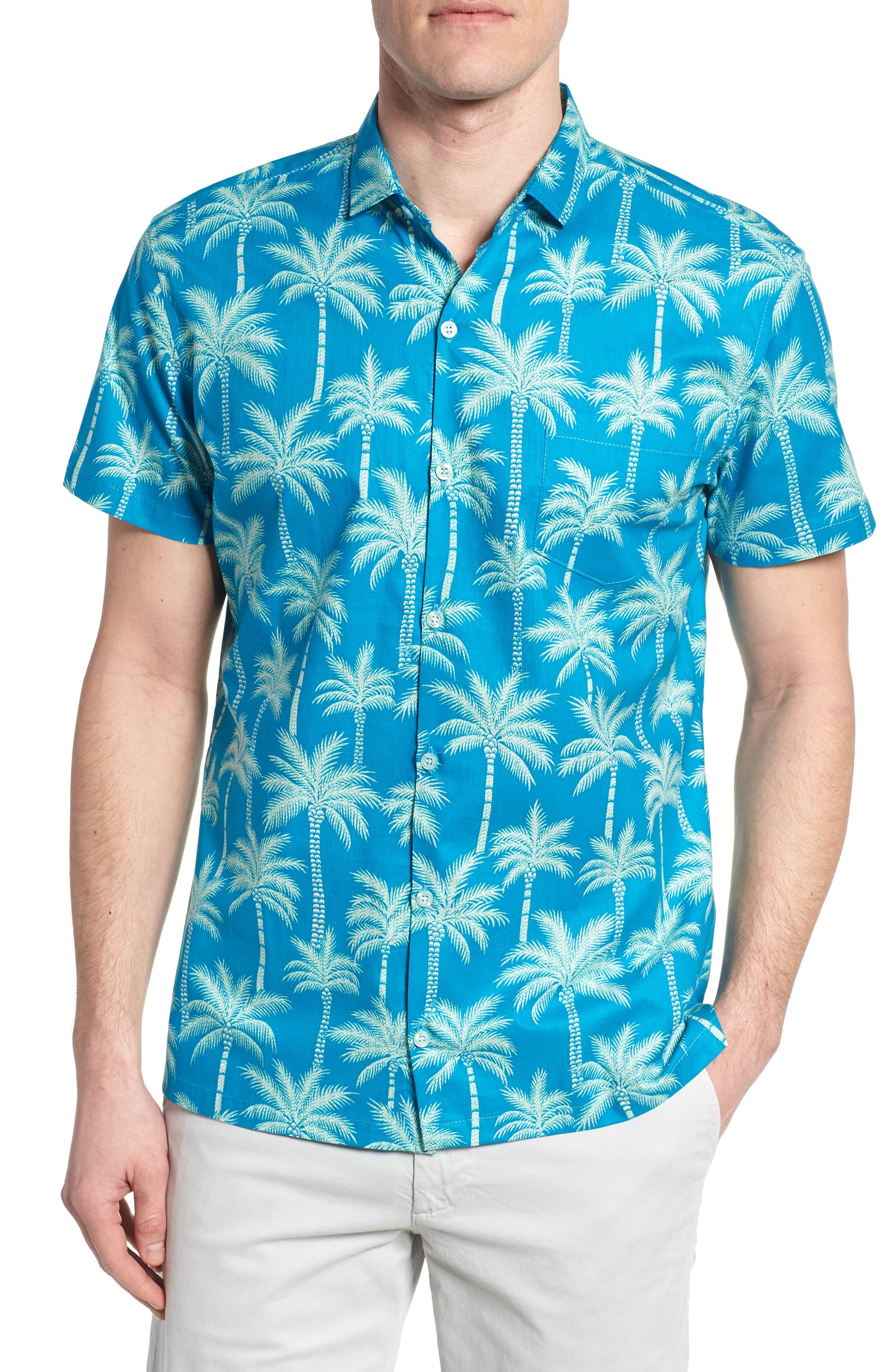Erté Palm Camp Shirt,                             Main thumbnail 1, color,                             Wave