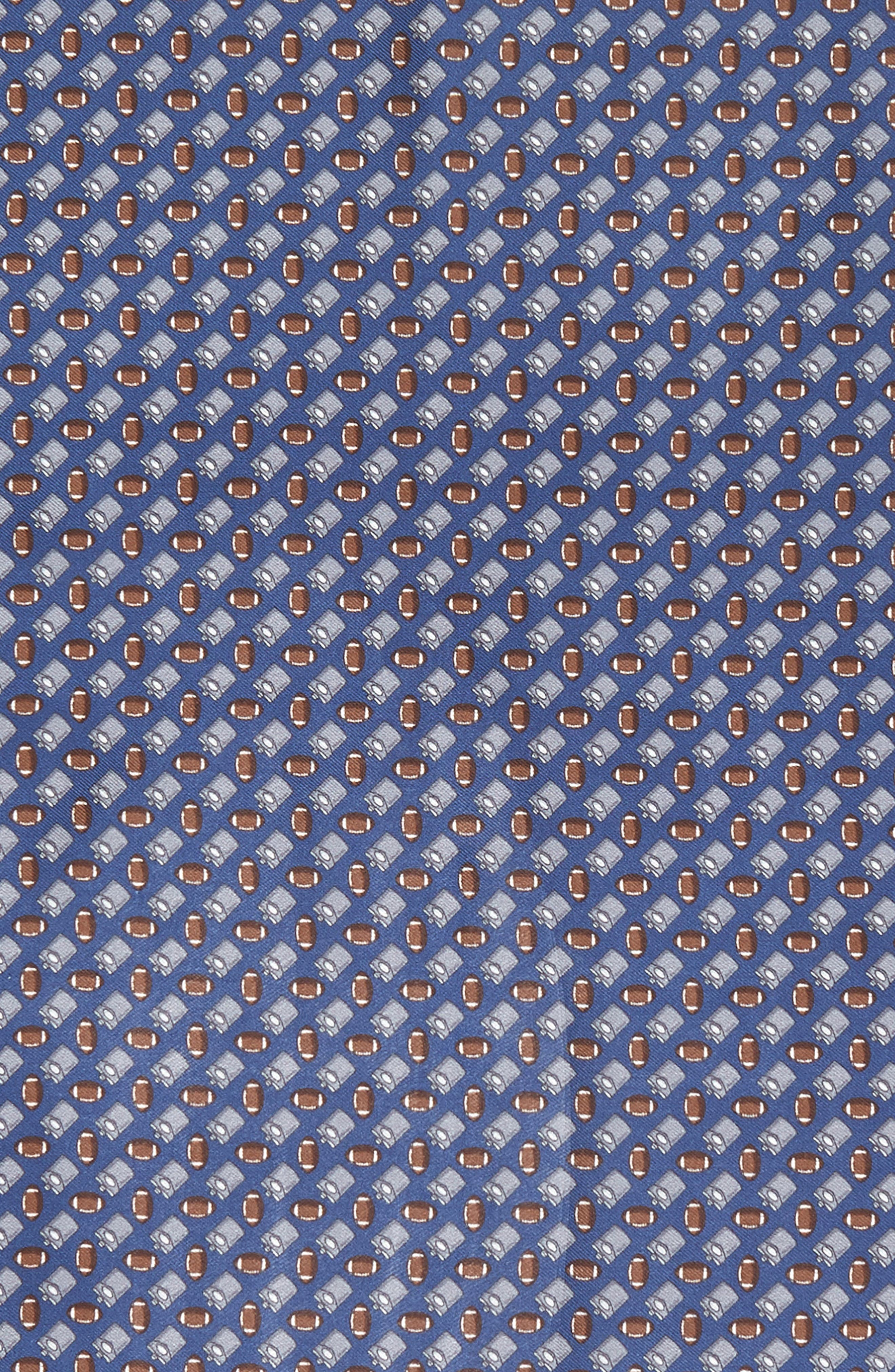Tailgating Silk Pocket Square,                             Alternate thumbnail 3, color,                             Navy