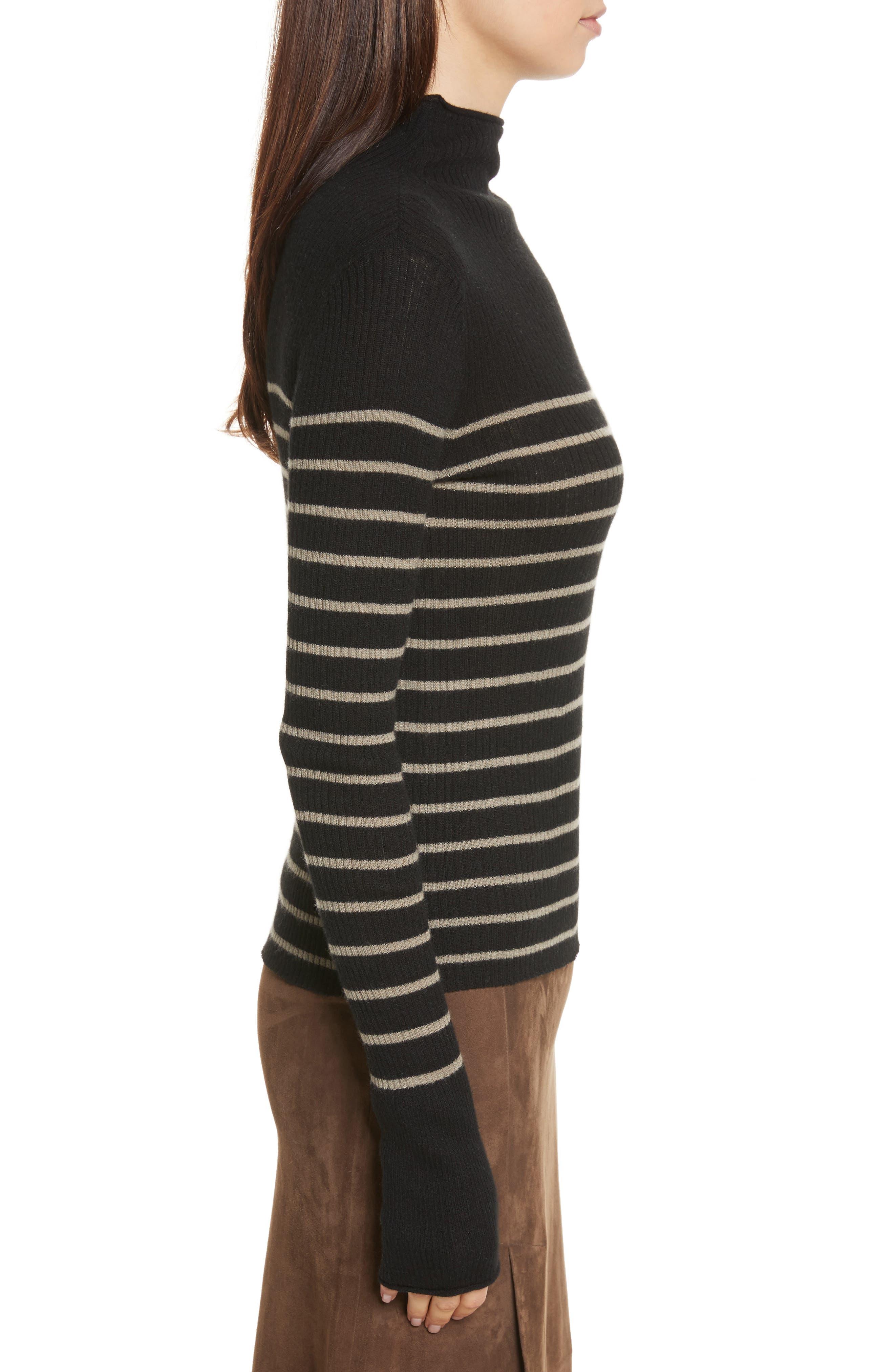 Stripe Ribbed Cashmere Sweater,                             Alternate thumbnail 3, color,                             Black/ Pebble Taupe